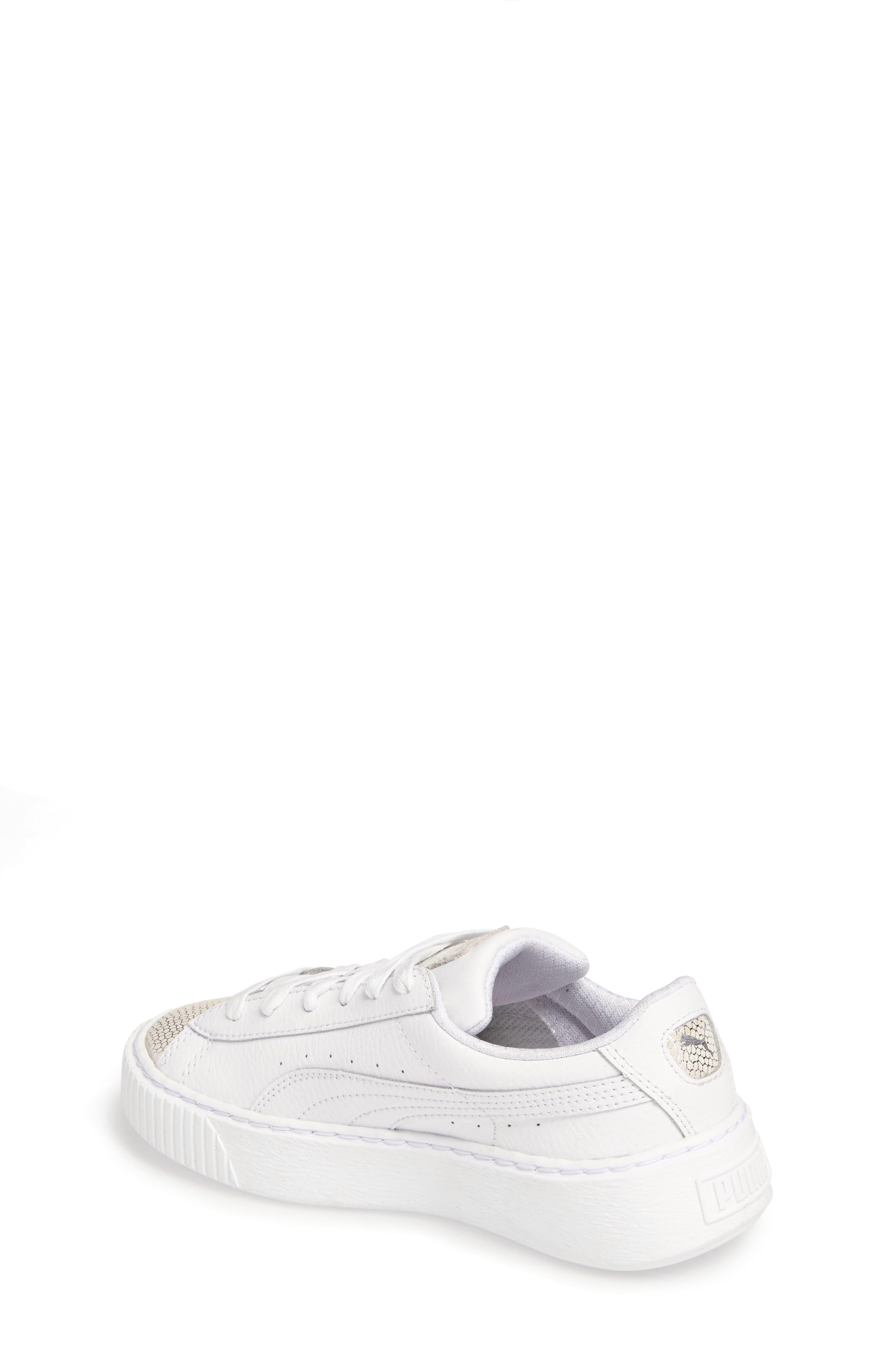 Basket Glitz Platform Sneaker,                             Alternate thumbnail 2, color,                             Puma White