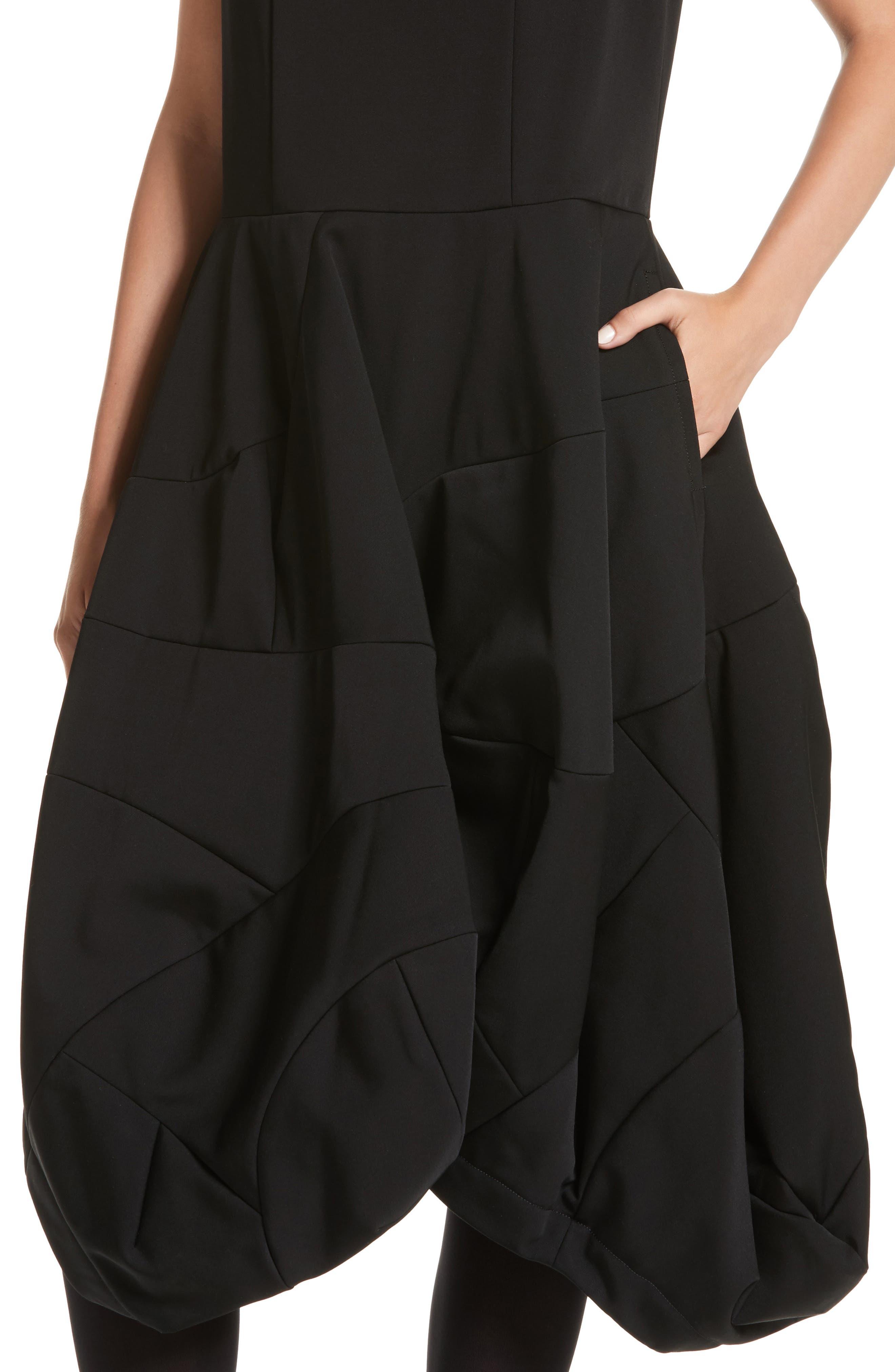 Bending Skirt Wool Dress,                             Alternate thumbnail 4, color,                             Black