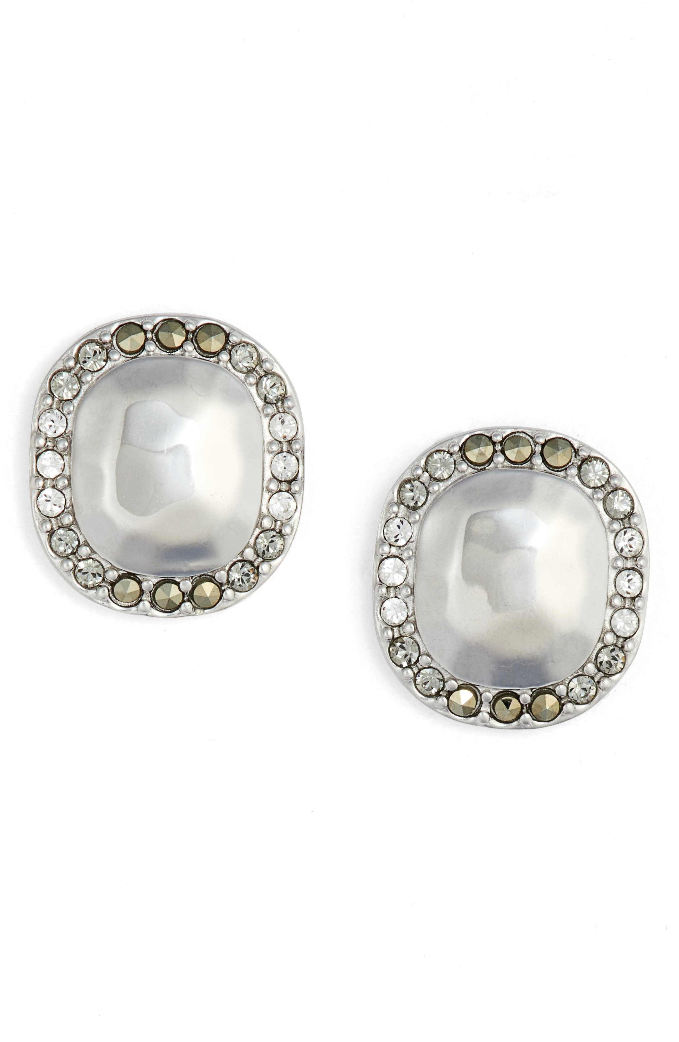 Jewel Stud Earrings,                             Main thumbnail 1, color,                             Silver