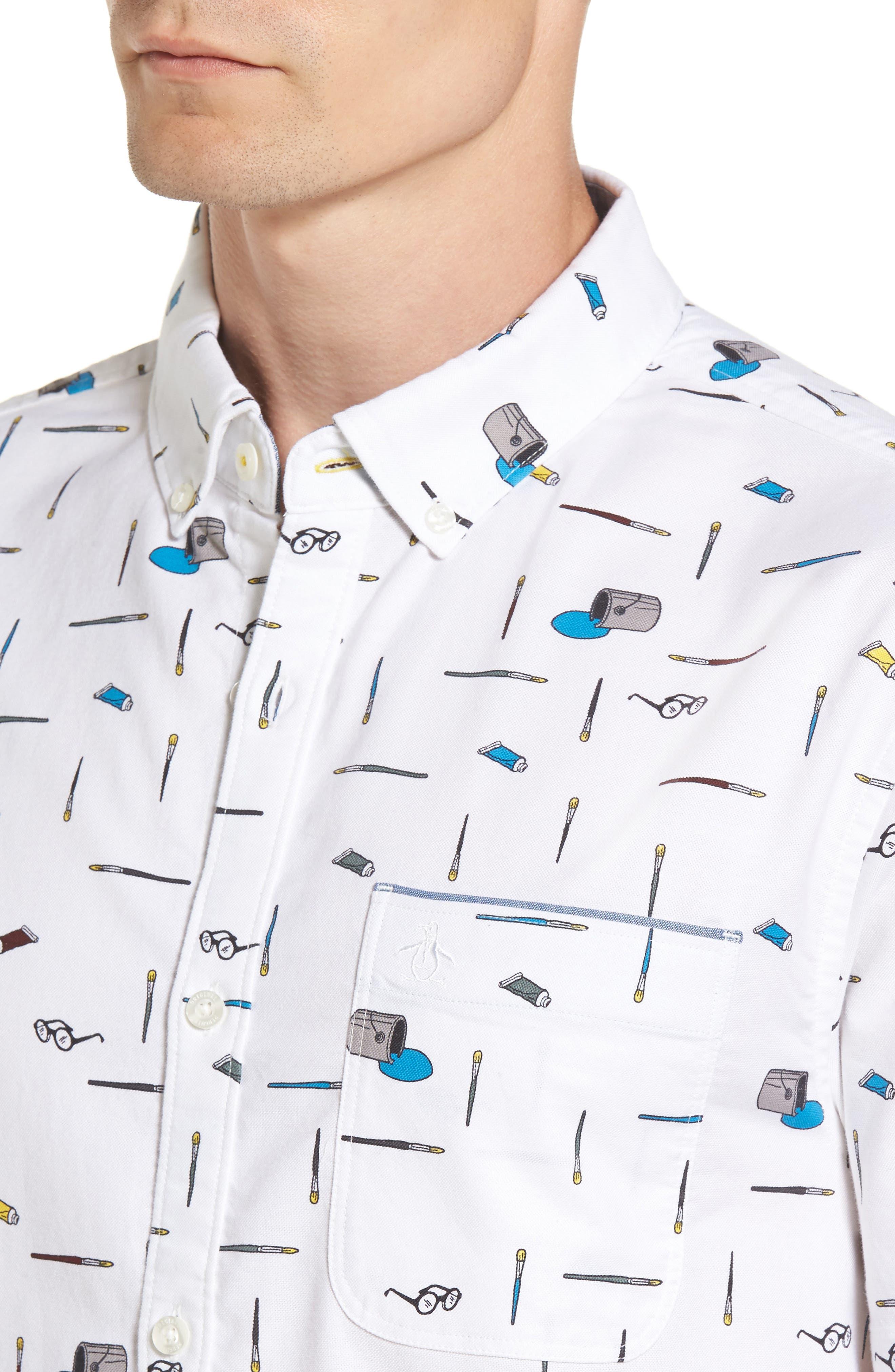Paintbrush Pattern Woven Shirt,                             Alternate thumbnail 4, color,                             Bright White