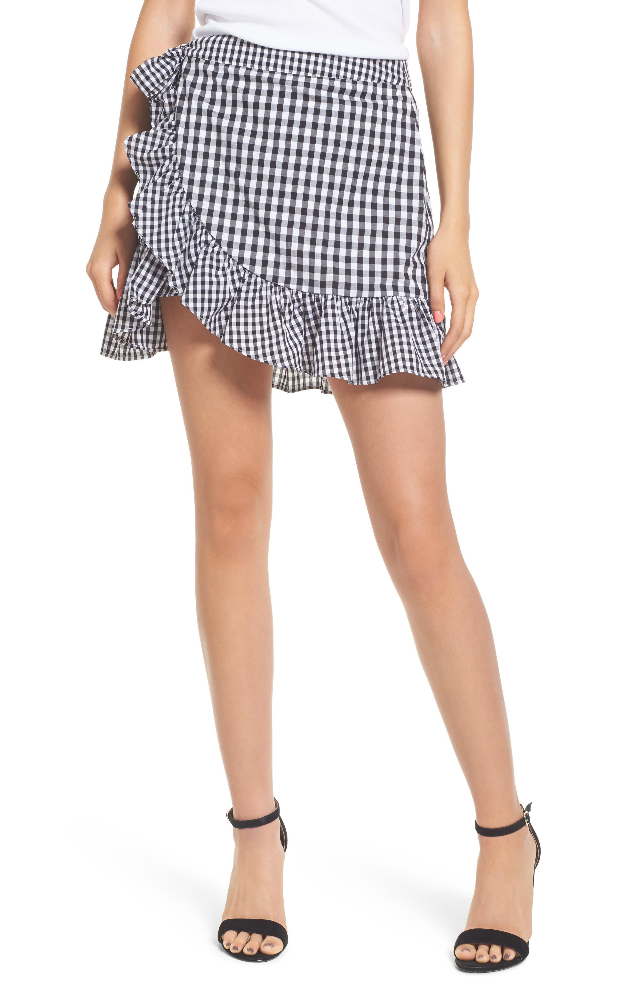 Cinci Wrap Skirt,                         Main,                         color, Black/ White