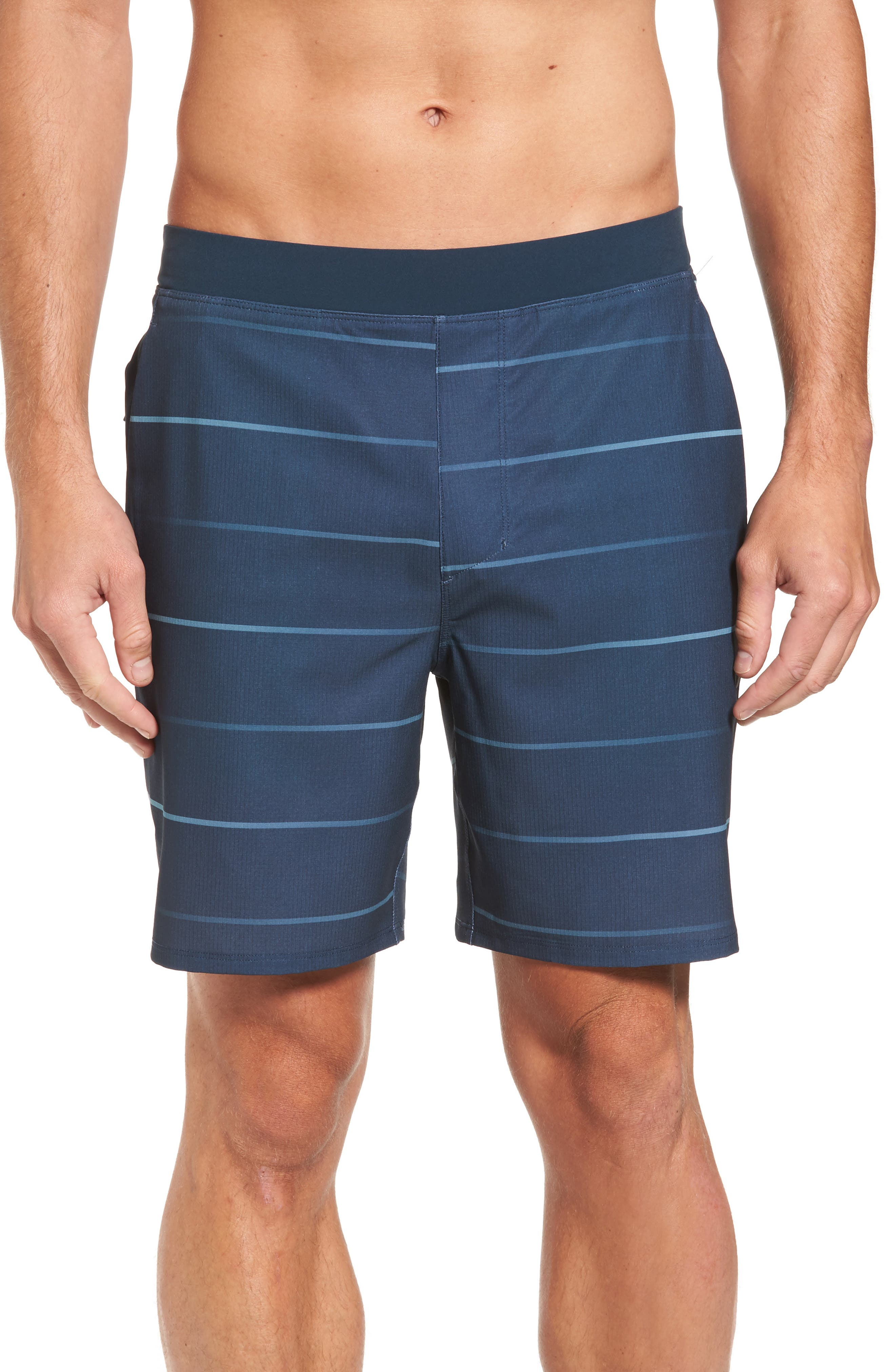 Alpha Trainer Stripe Shorts,                             Main thumbnail 1, color,                             Armory Navy