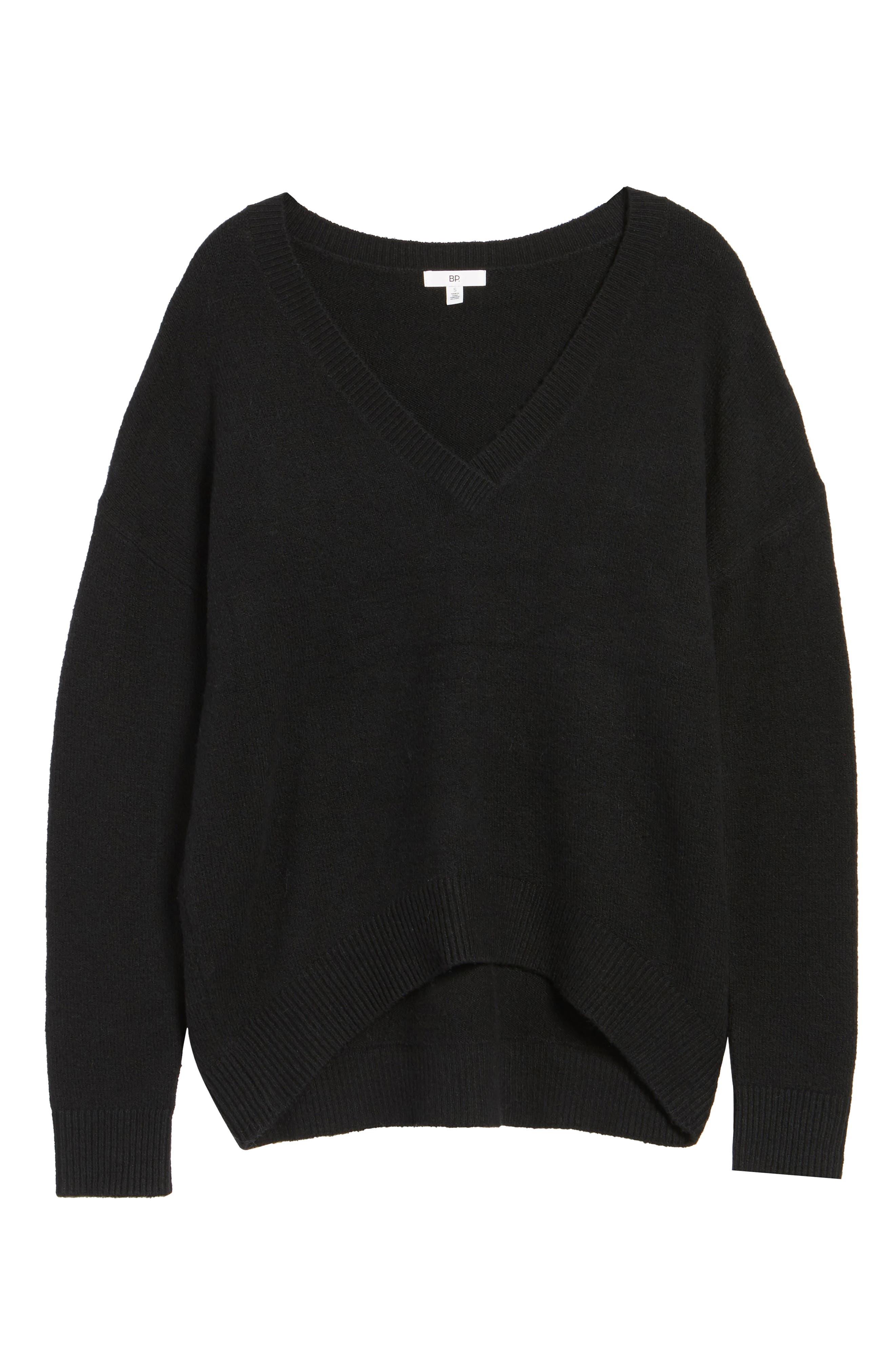 V-Neck High/Low Sweater,                             Alternate thumbnail 6, color,                             Black