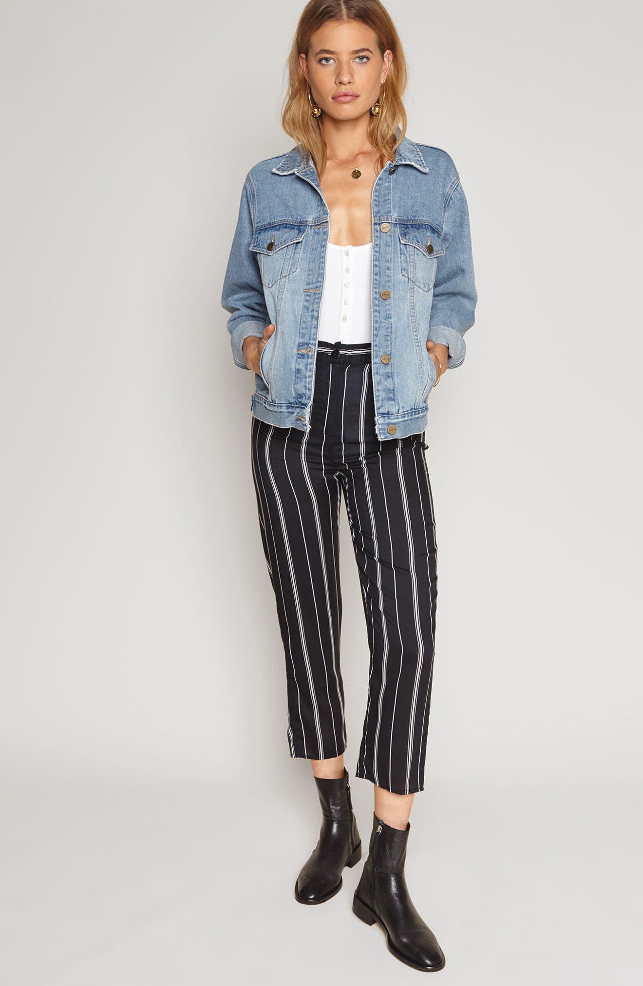 Mirabel Stripe Crop Pants,                             Alternate thumbnail 2, color,                             Black