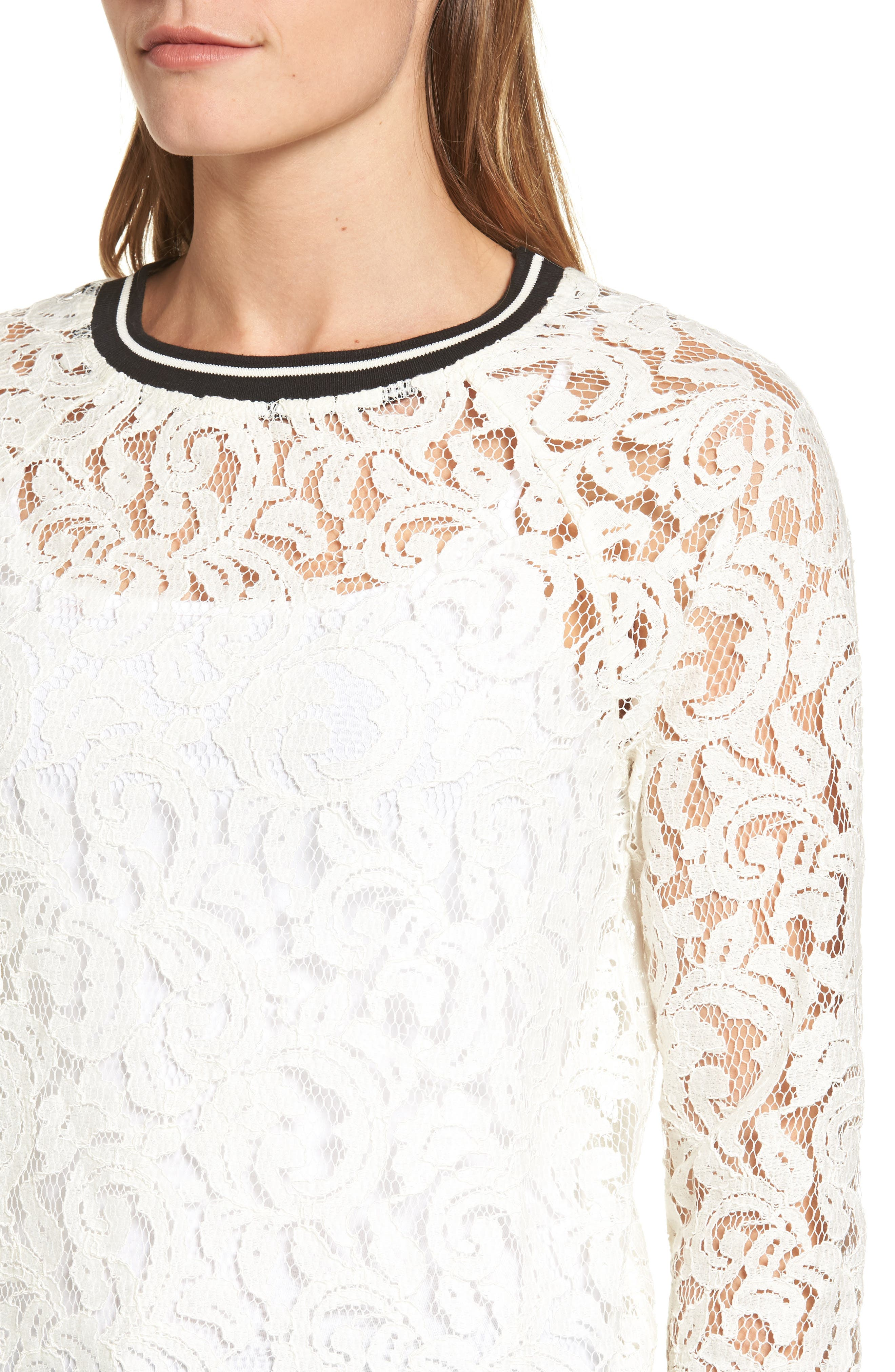 Ribbed Trim Lace Top,                             Alternate thumbnail 4, color,                             Ivory