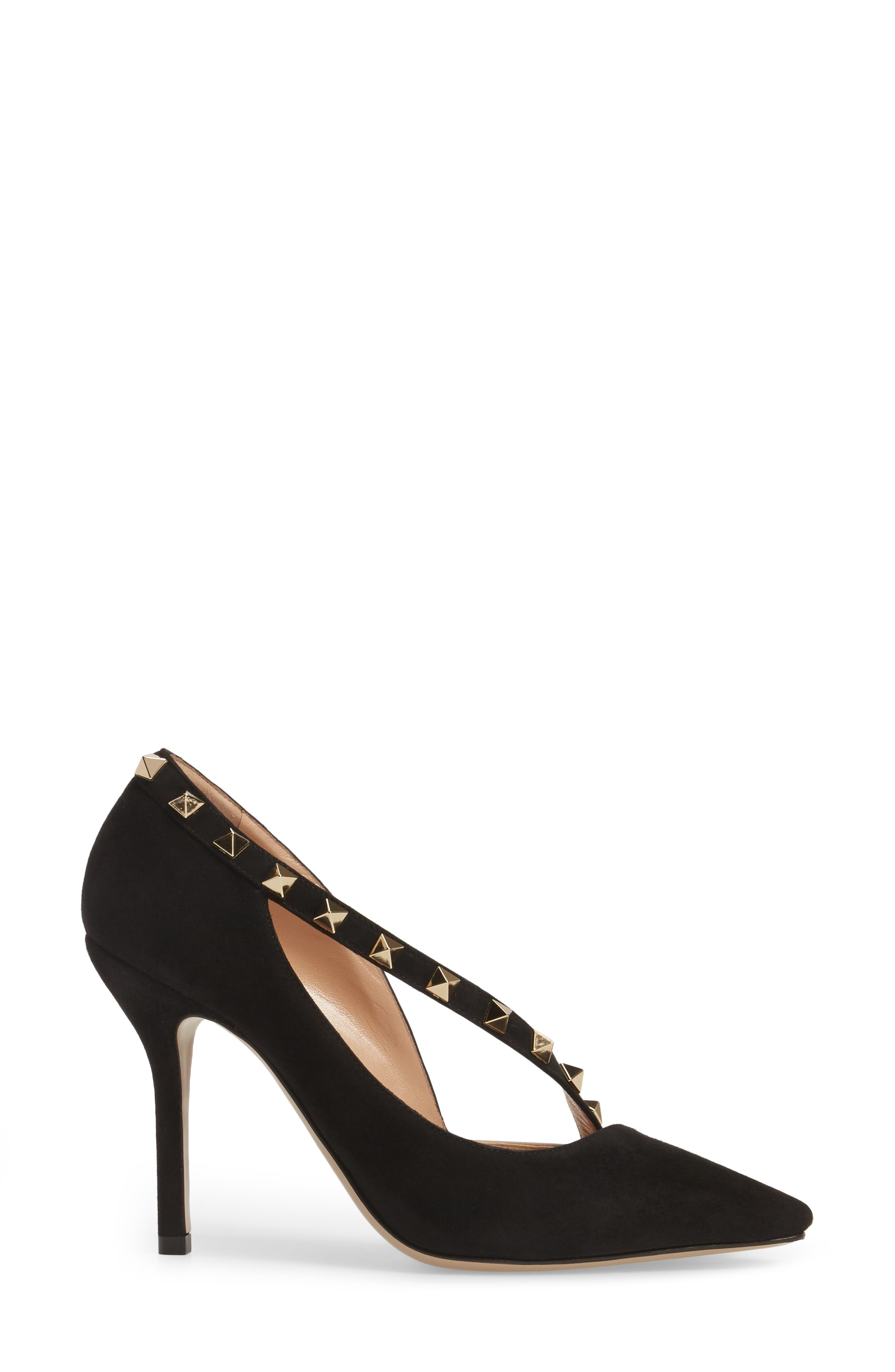 Rockstud d'Orsay Pump,                             Alternate thumbnail 3, color,                             Black Suede