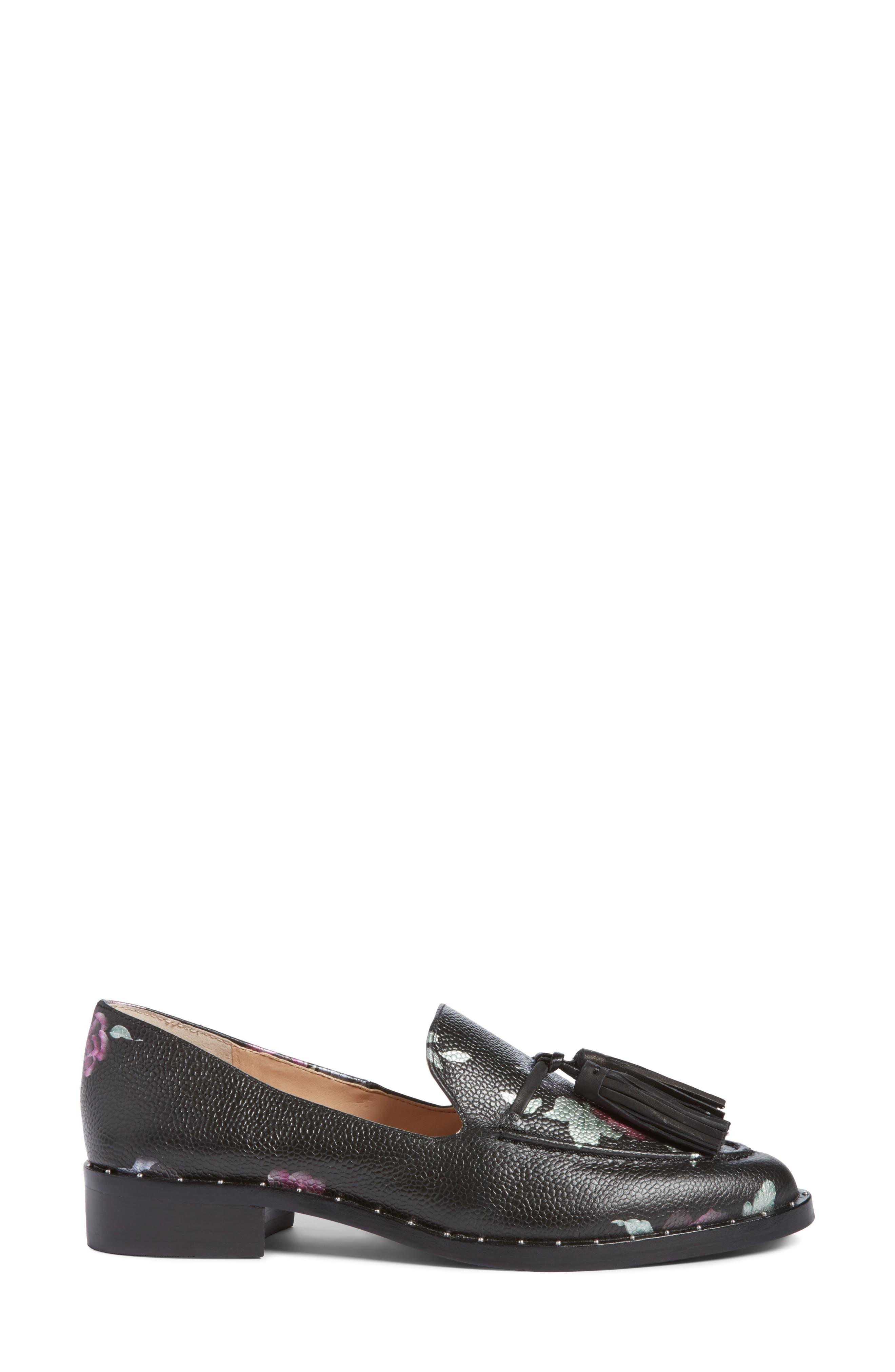 Geralin Tassel Loafer,                             Alternate thumbnail 3, color,                             Black Floral Print Leather