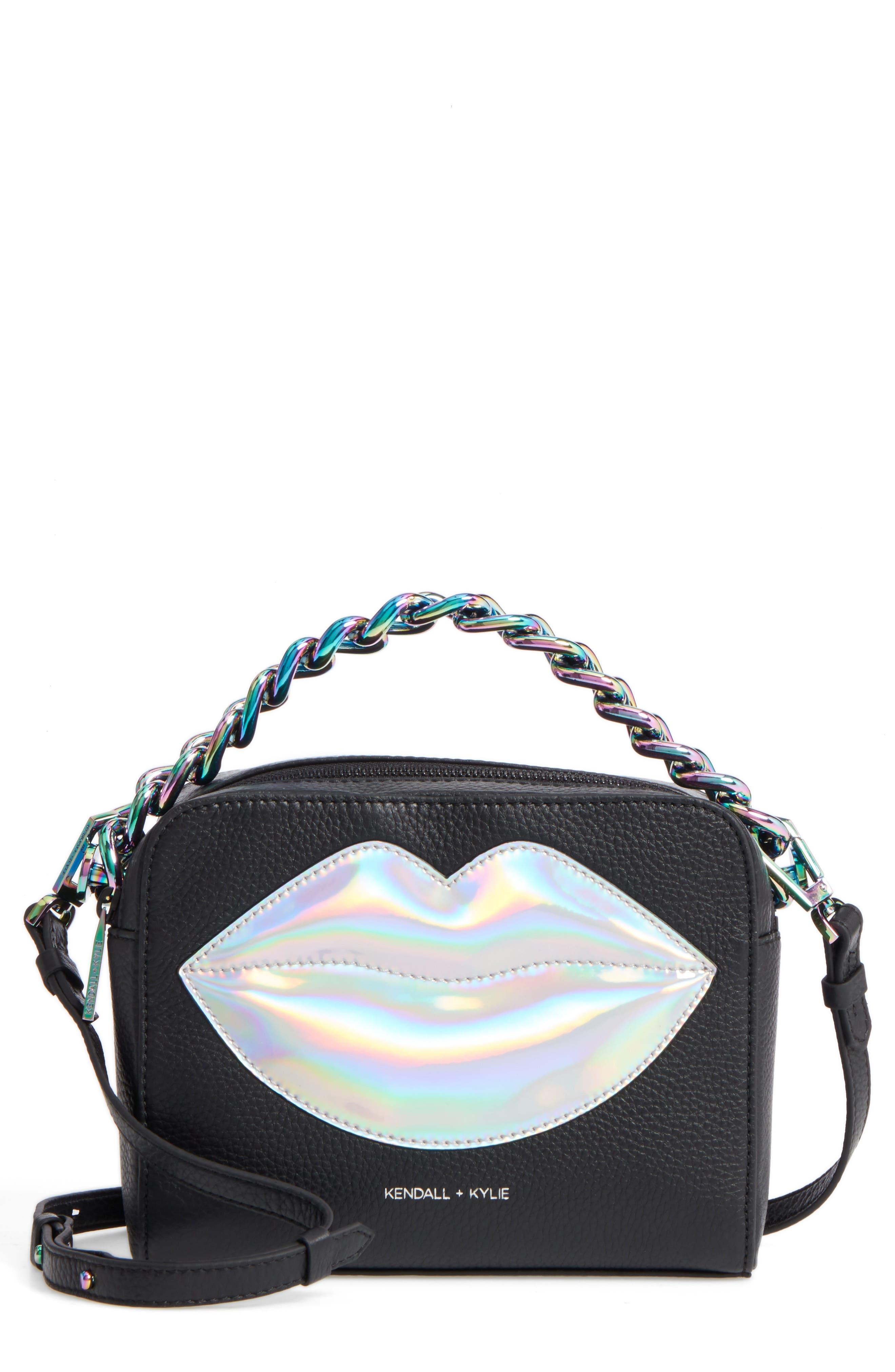 Lucy Lips Crossbody Bag,                             Main thumbnail 1, color,                             Black