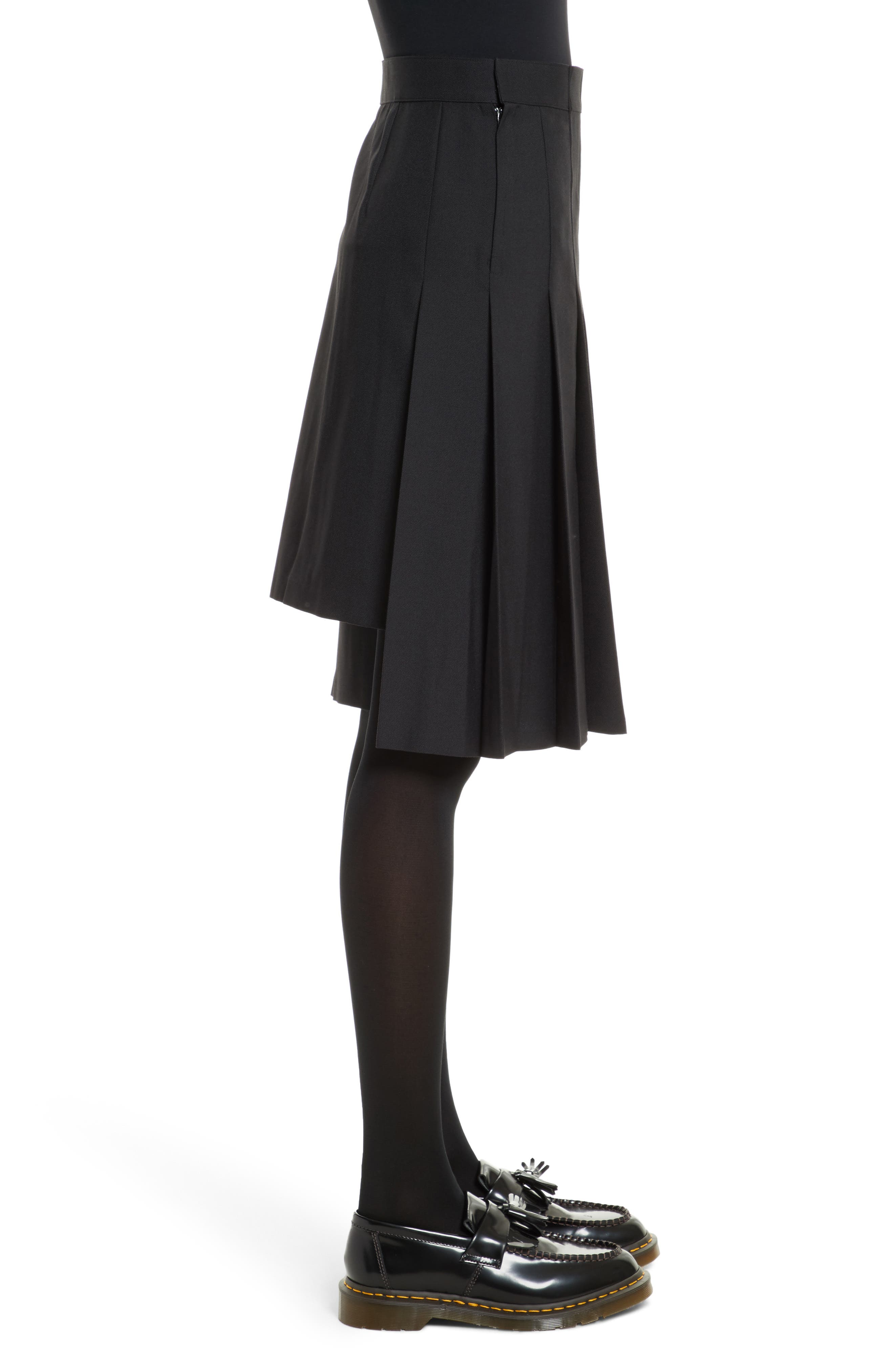 Pleated A-Line Skirt,                             Alternate thumbnail 3, color,                             Black