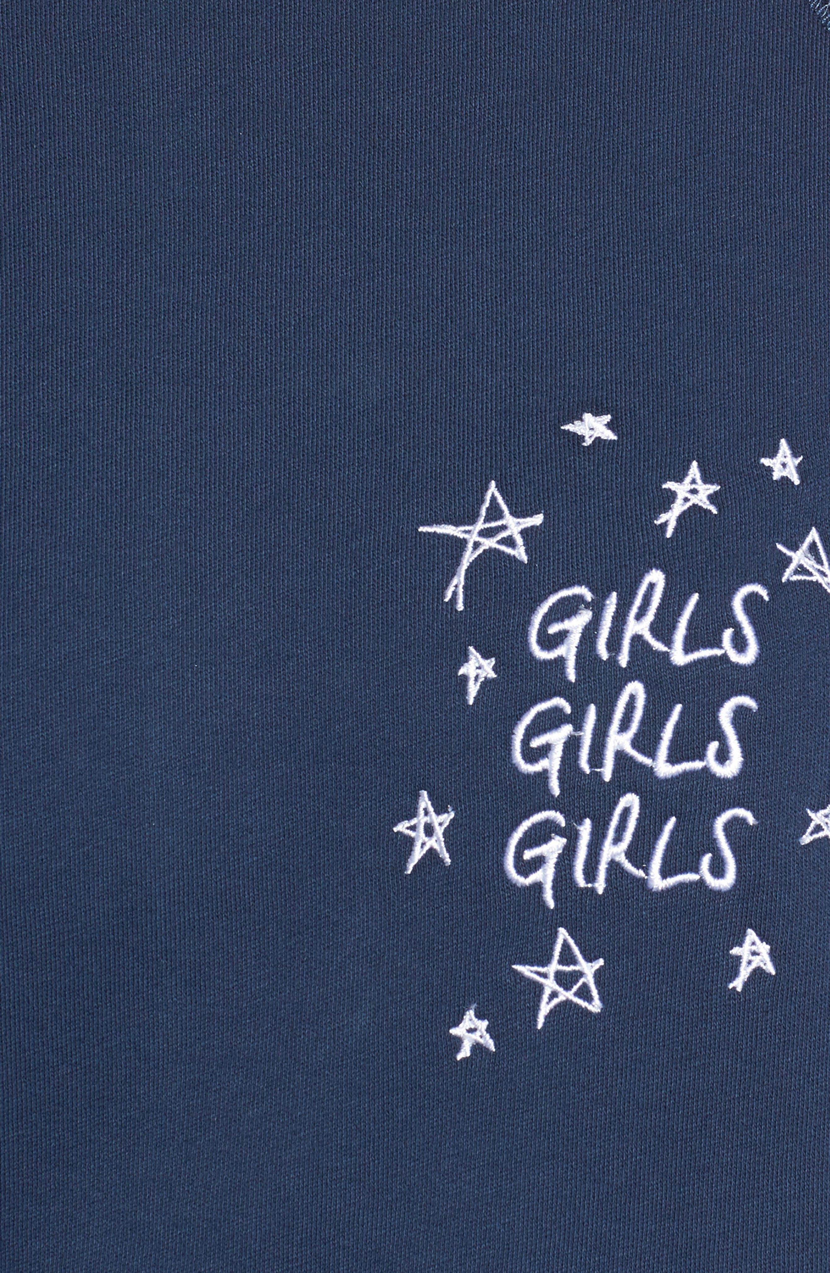 Girls Girls Girls Embroidered Sweatshirt,                             Alternate thumbnail 5, color,                             Navy
