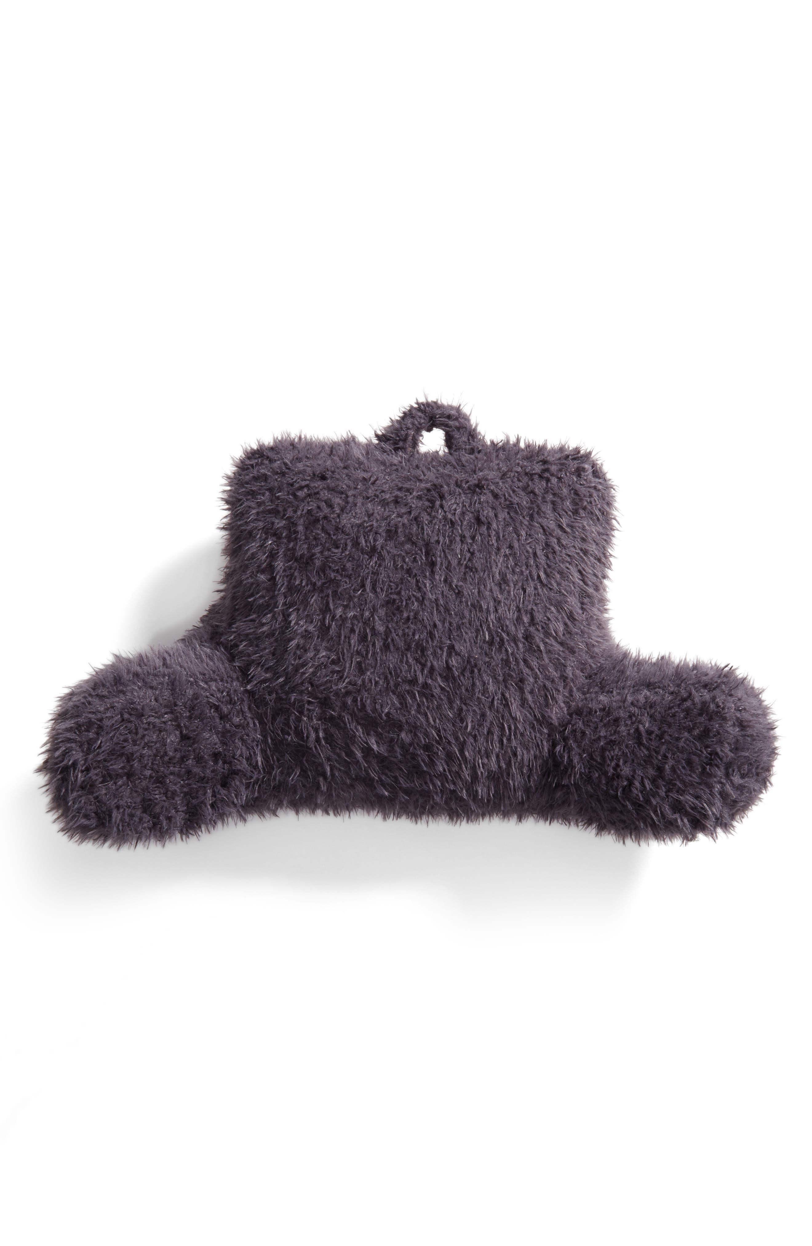 Shaggy Faux Fur Backrest Pillow,                         Main,                         color, Grey Excalibur