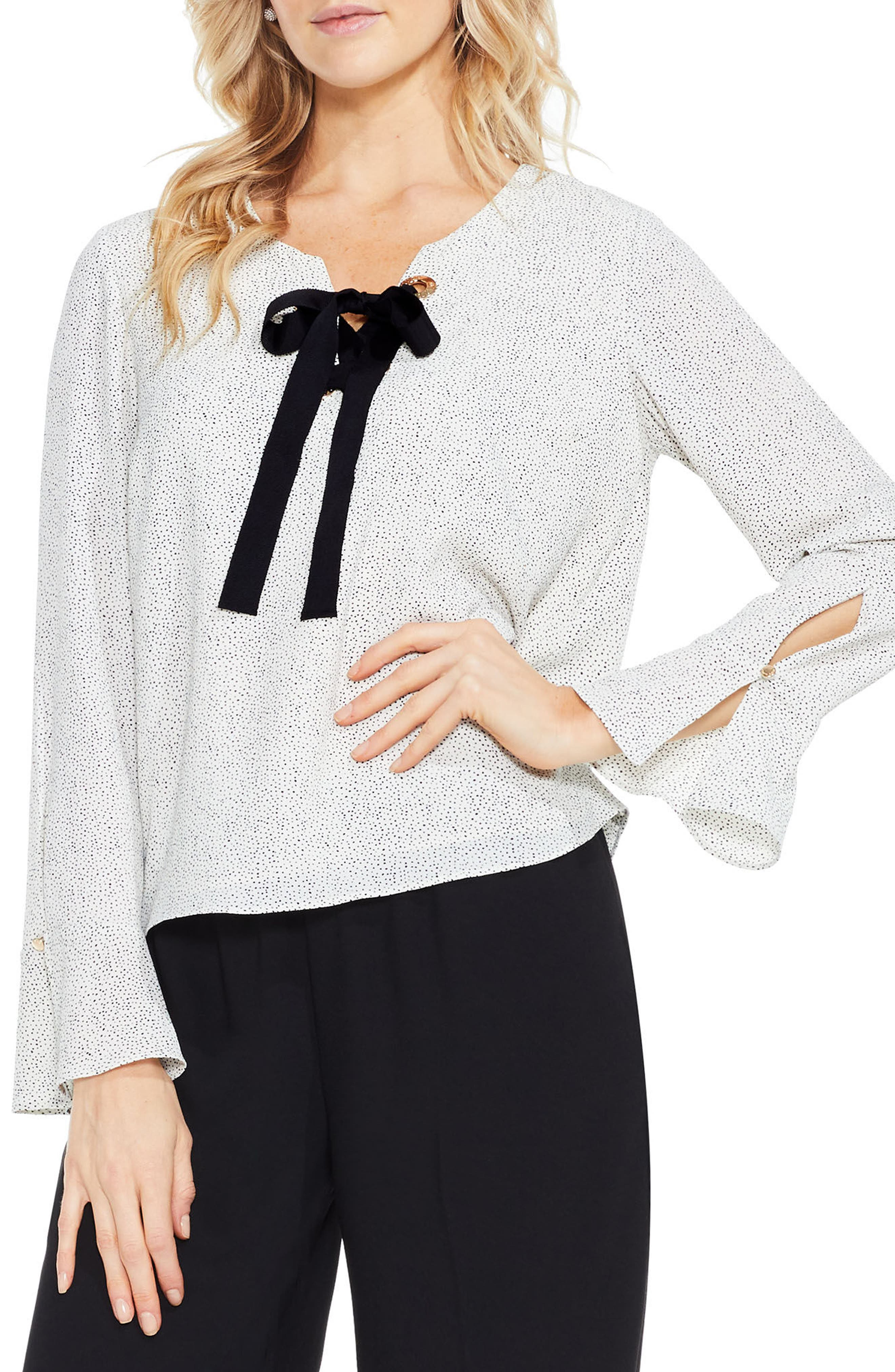 Elegant Speckles Bell Sleeve Blouse,                         Main,                         color, Pearl Ivory