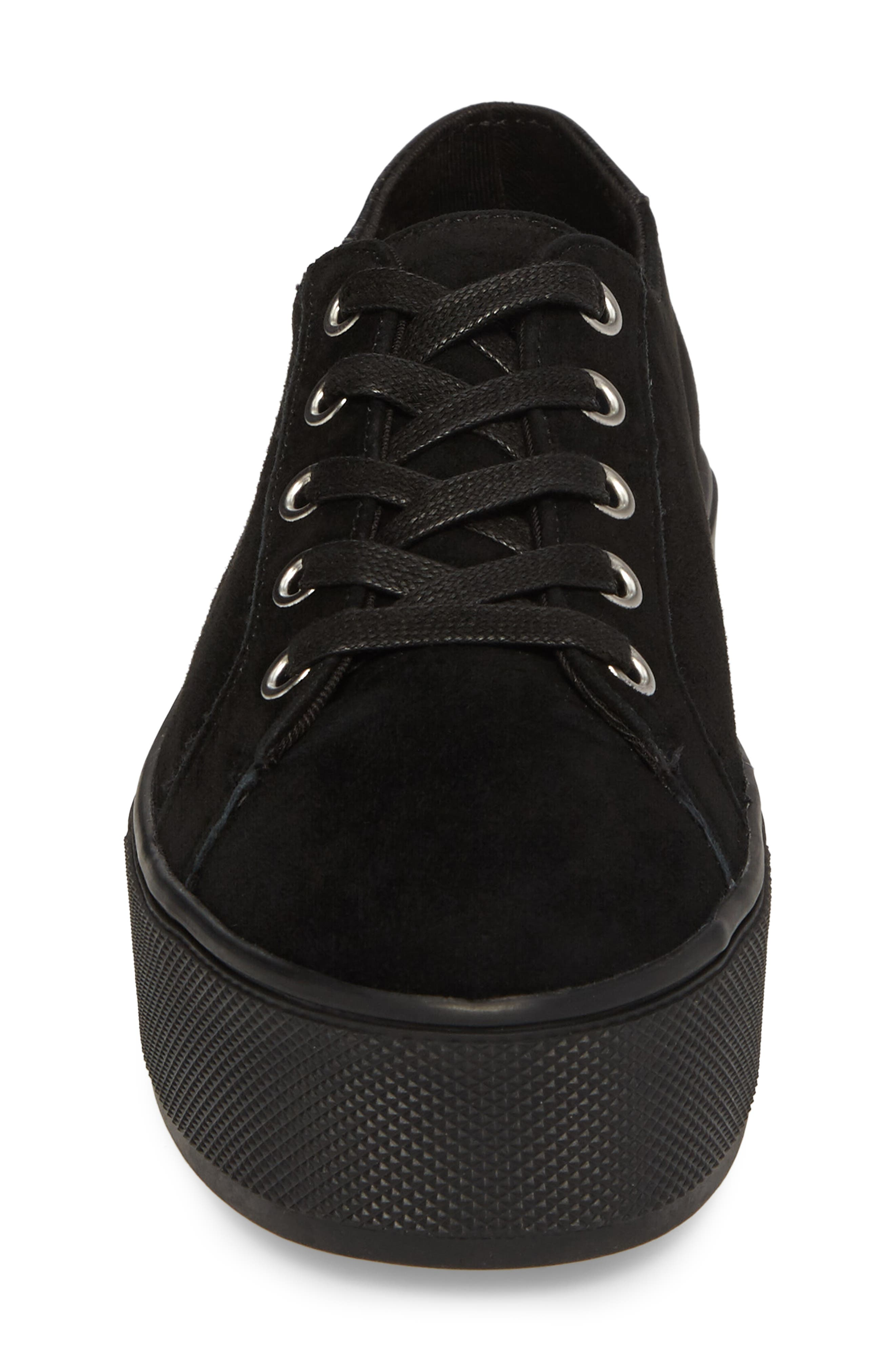 Felecia Platform Sneaker,                             Alternate thumbnail 4, color,                             Black Suede