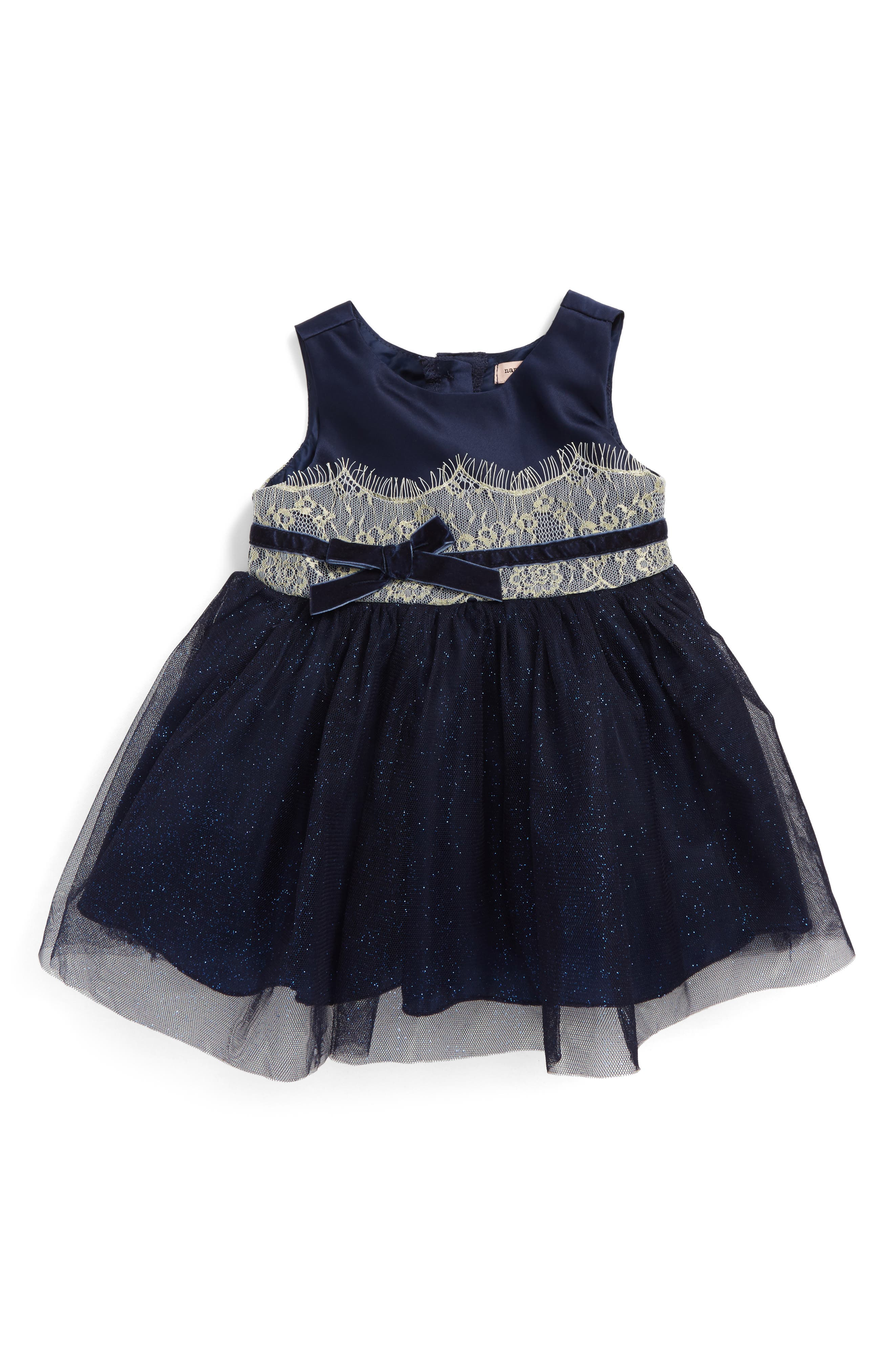 Shimmer Lace & Tulle Dress,                         Main,                         color, Navy