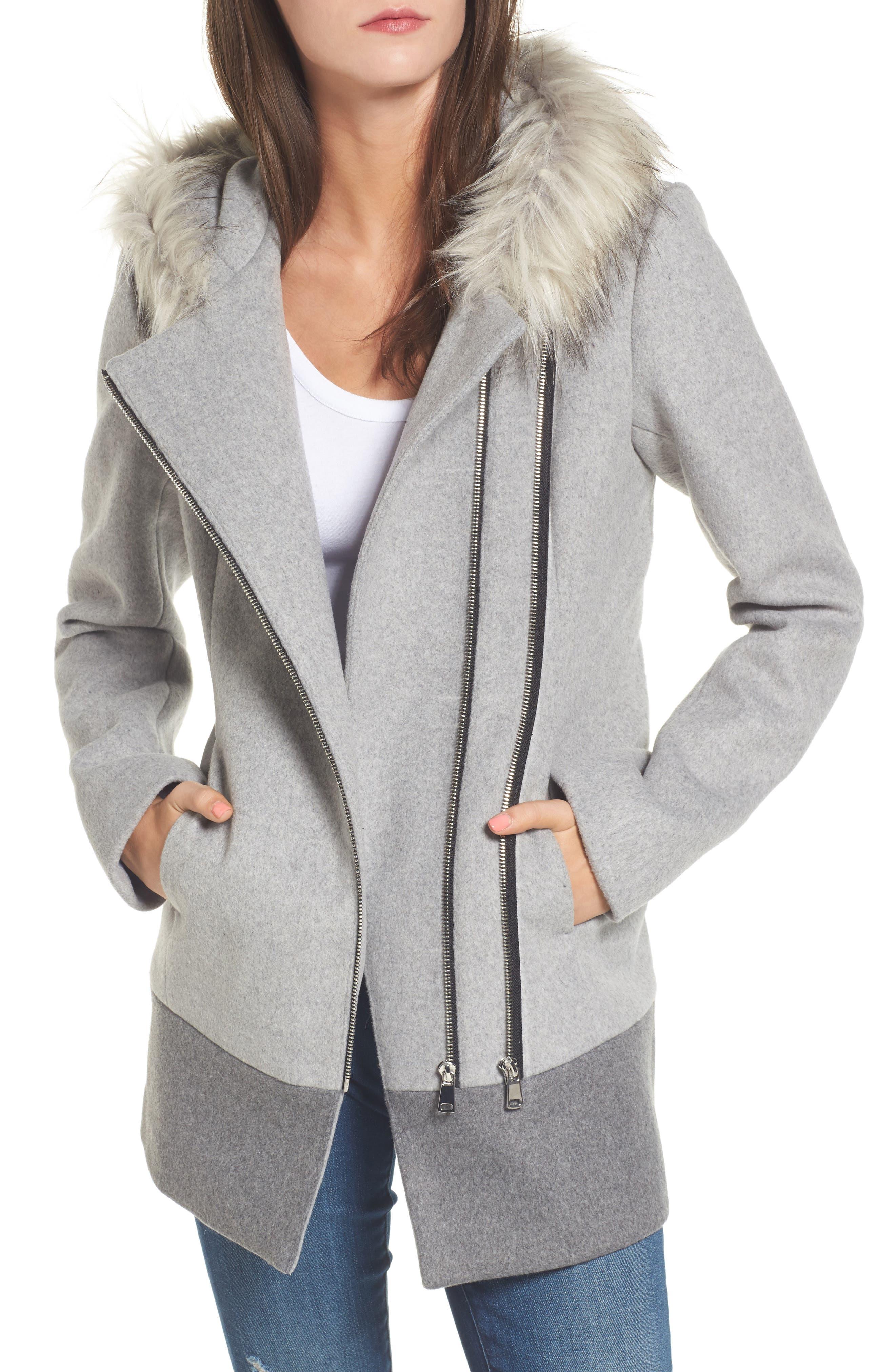 Coffee Shop Double Zip Faux Fur Trim Coat