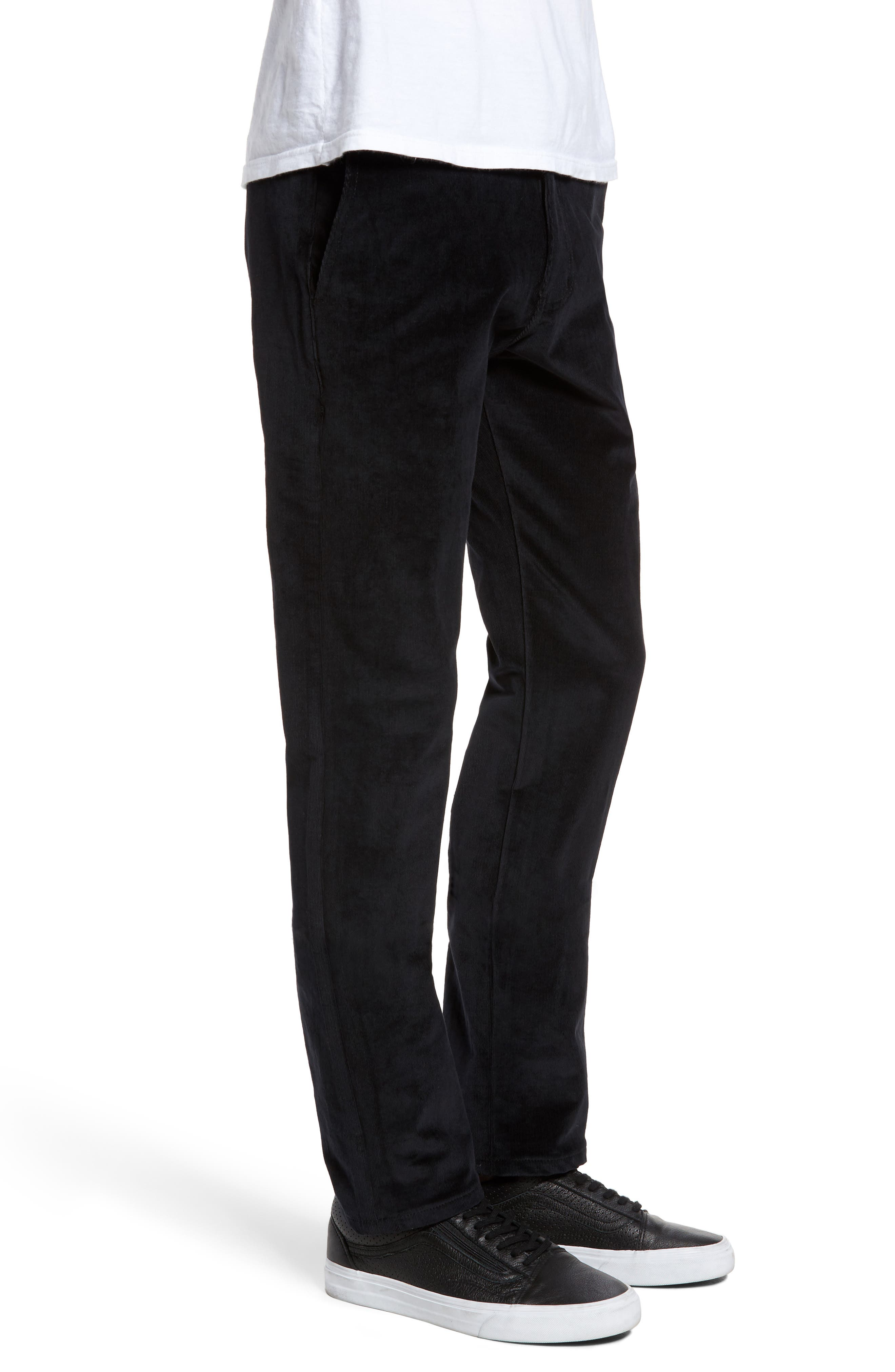 Naked & Famous Slim Chino Slim Fit Corduroy Pants,                             Alternate thumbnail 3, color,                             Black