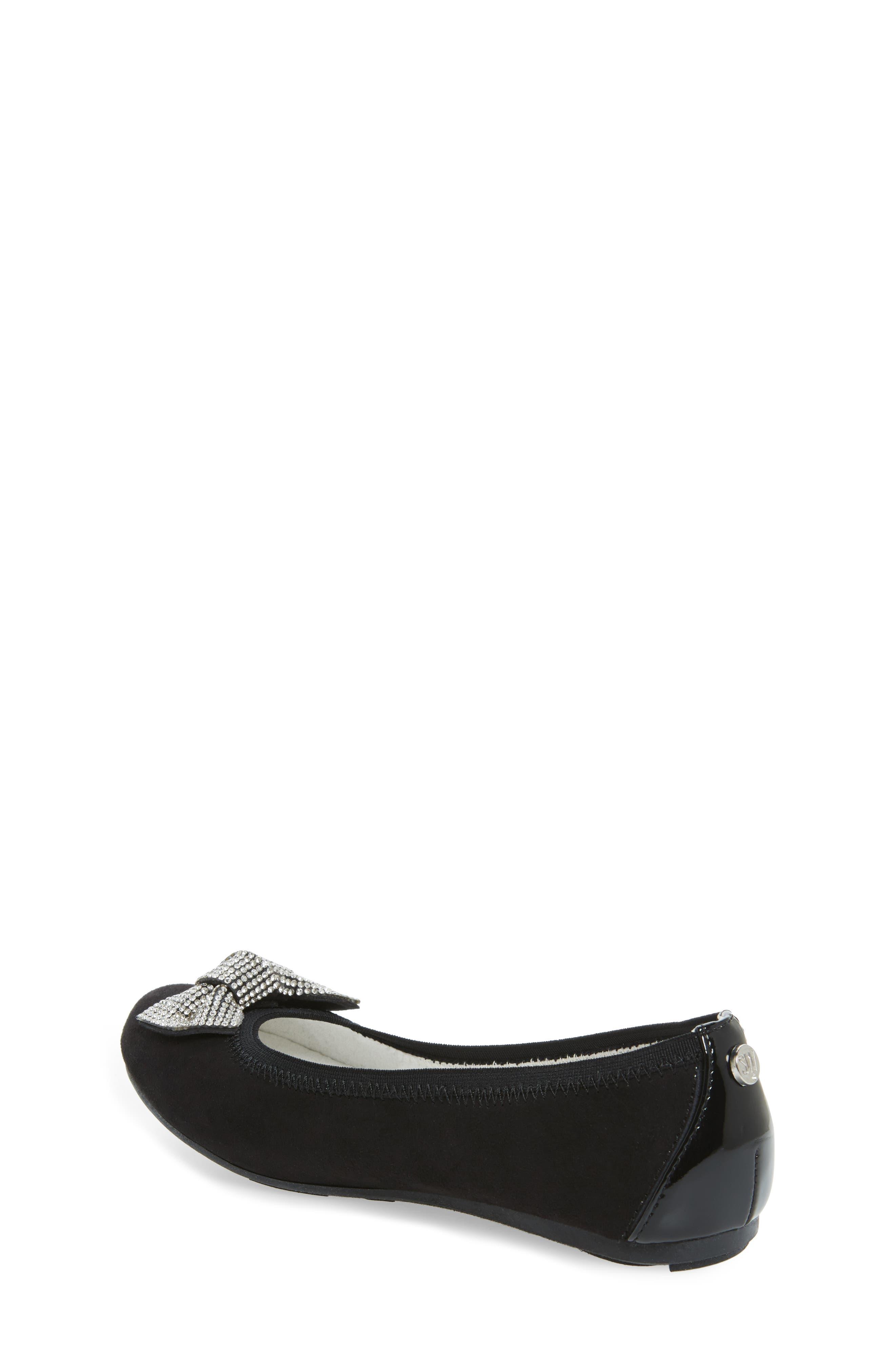 Fannie Glitz Ballet Flat,                             Alternate thumbnail 3, color,                             Black Faux Leather
