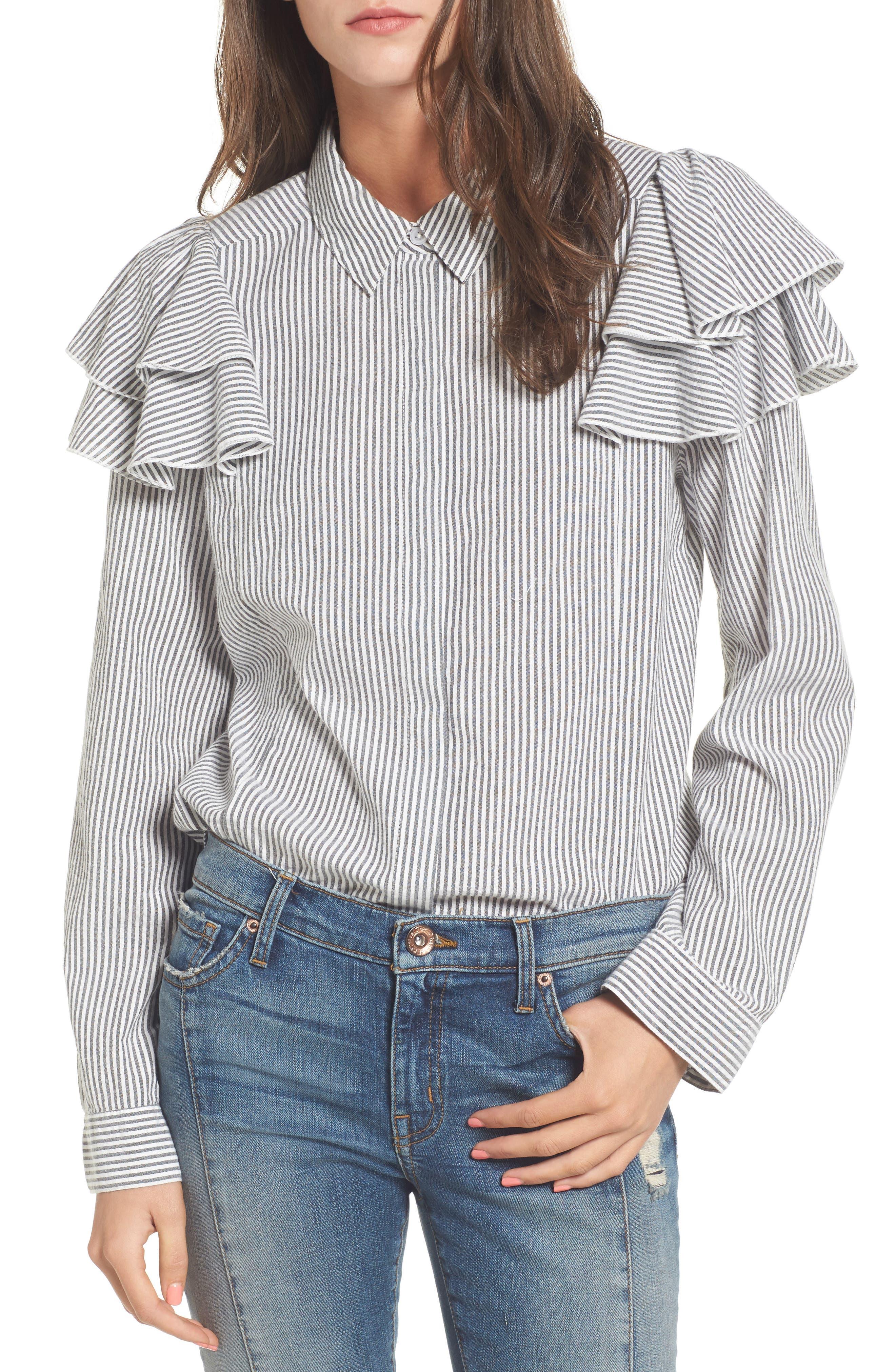 Ruffle Shoulder Shirt,                             Main thumbnail 1, color,                             Ivory Egret Katie Stripe