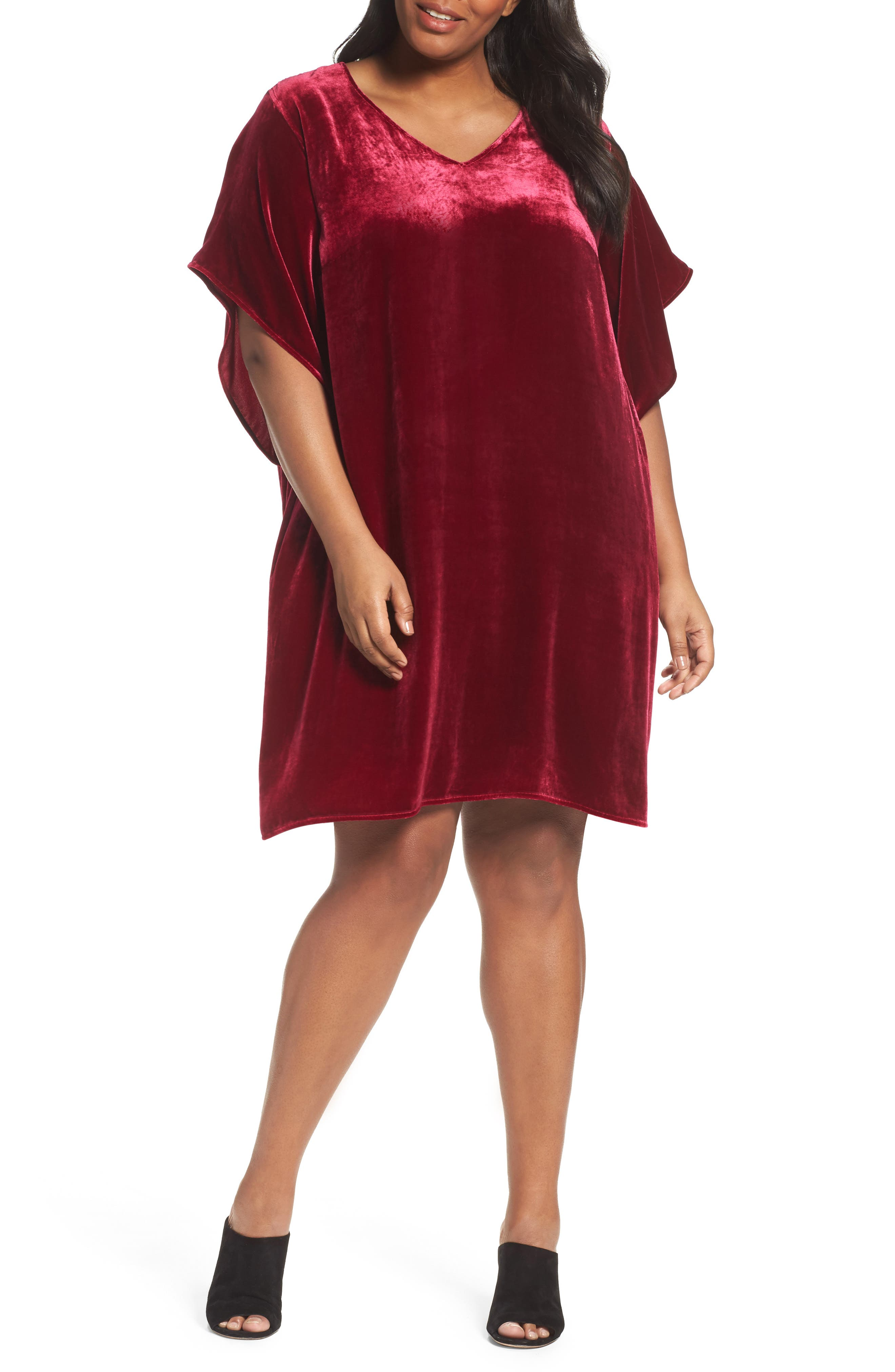 Alternate Image 1 Selected - Eileen Fisher Kimono V-Neck Velvet Dress (Plus Size)