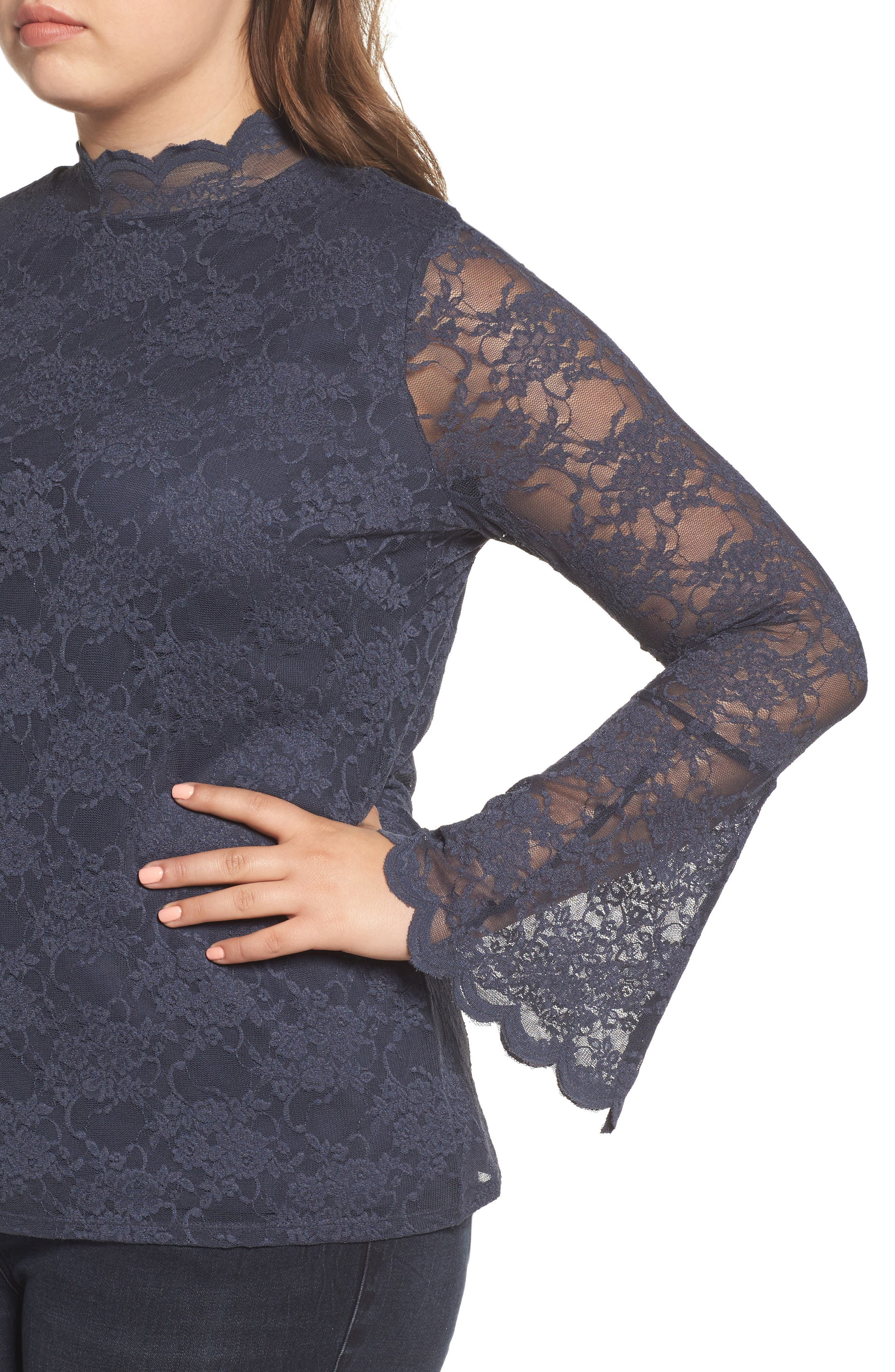 Alternate Image 4  - Vince Camuto Bell Sleeve Lace Top (Plus Size)