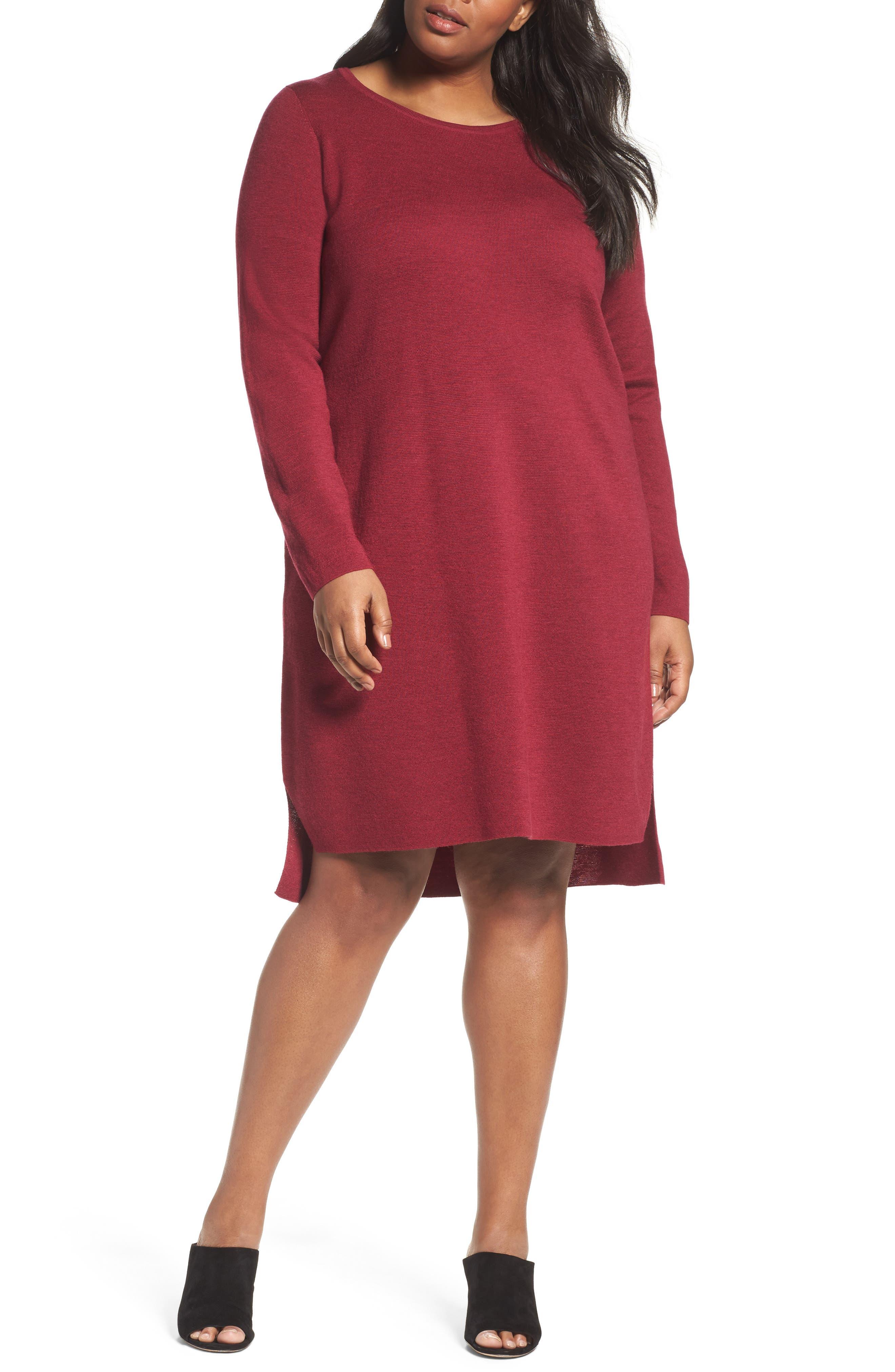 Merino Wool Sweater Dress,                         Main,                         color, Hibiscus