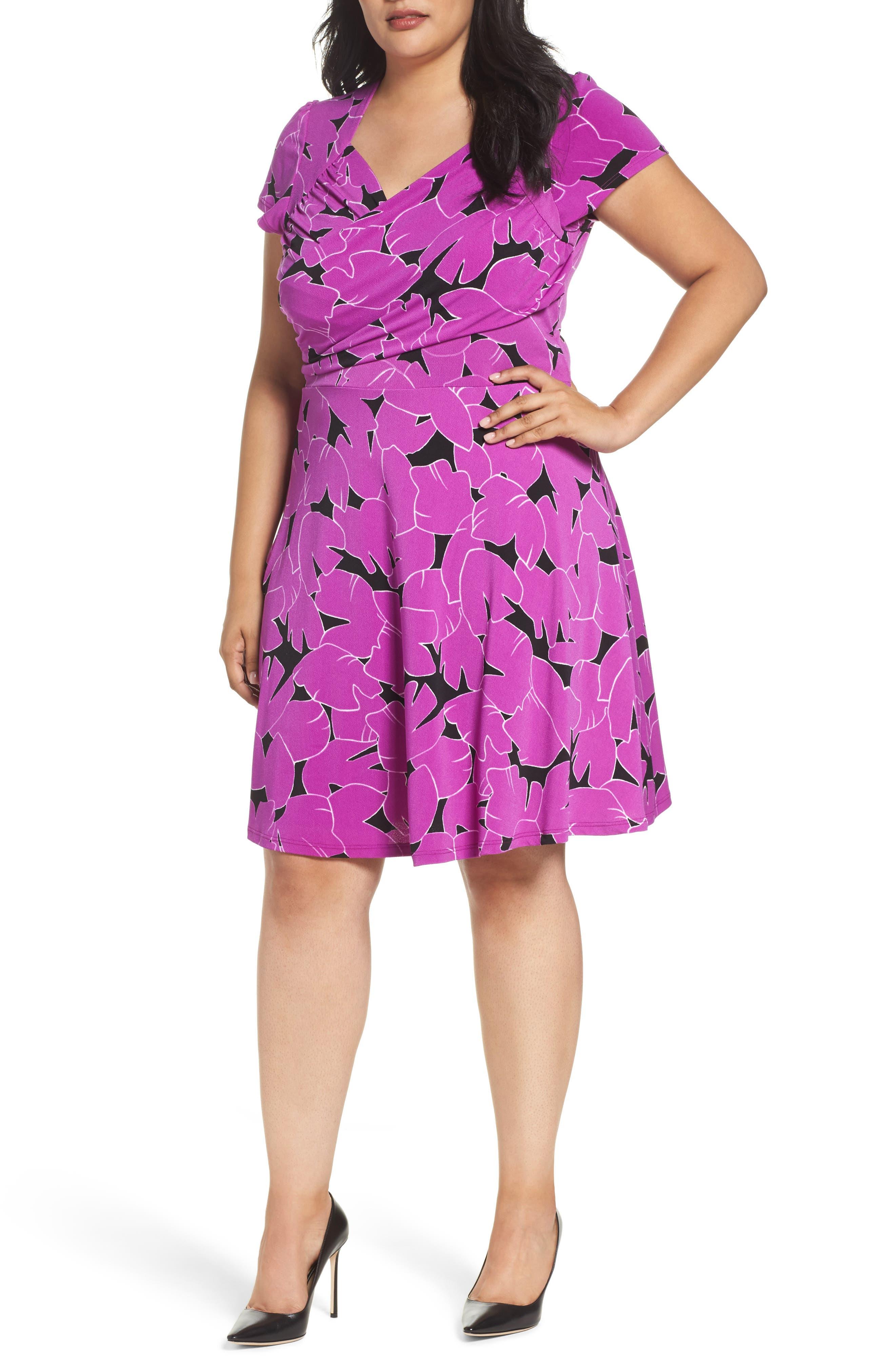 Faux Wrap Jersey Dress,                         Main,                         color, Petunia