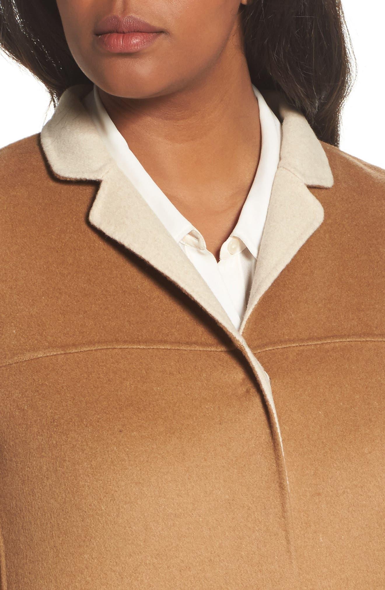 Nina Double Face Wool Blend Coat,                             Alternate thumbnail 4, color,                             Hazelnut