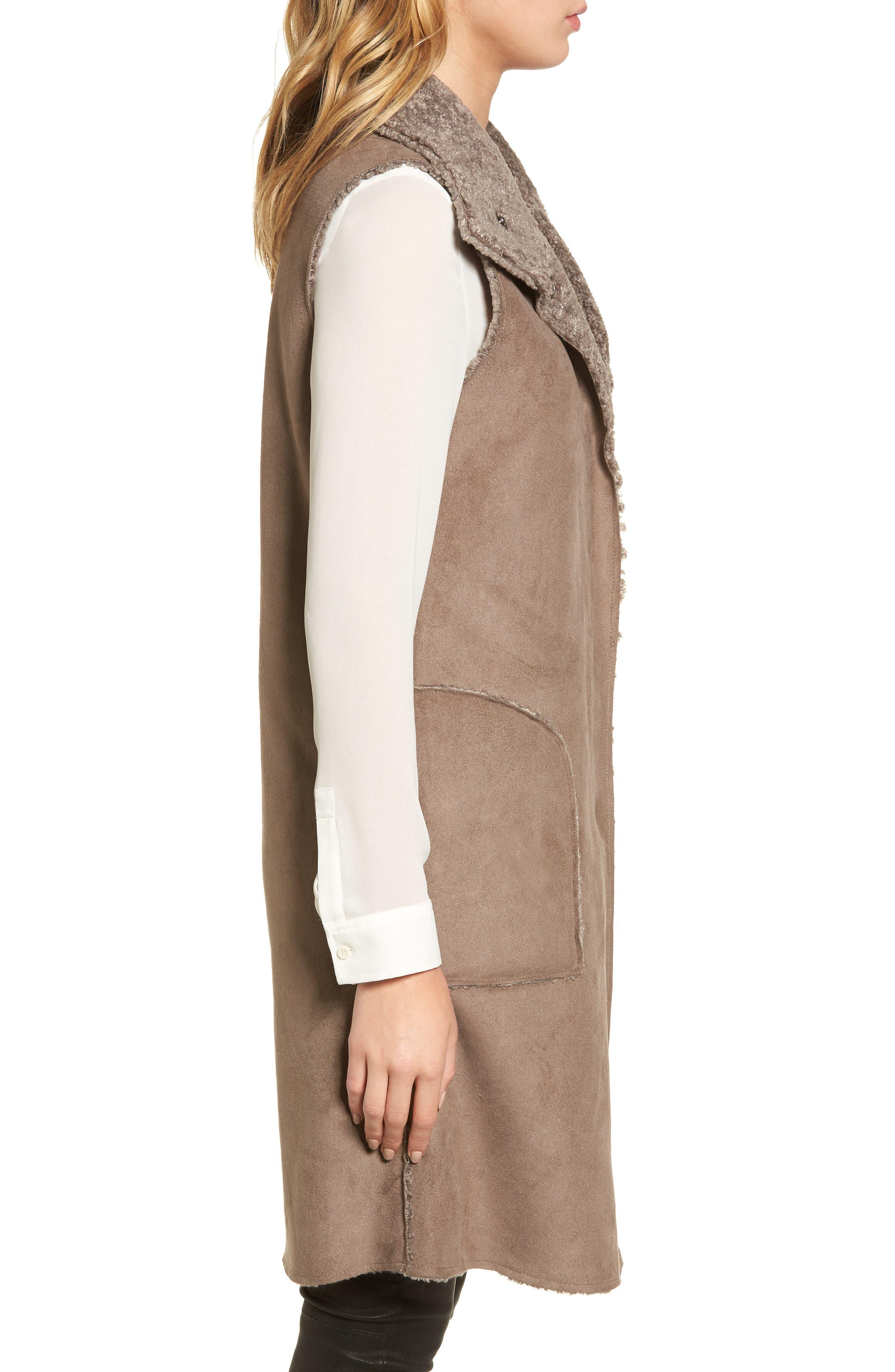 Velvet Reversible Faux Shearling Vest,                             Alternate thumbnail 3, color,                             Brown/ Brown