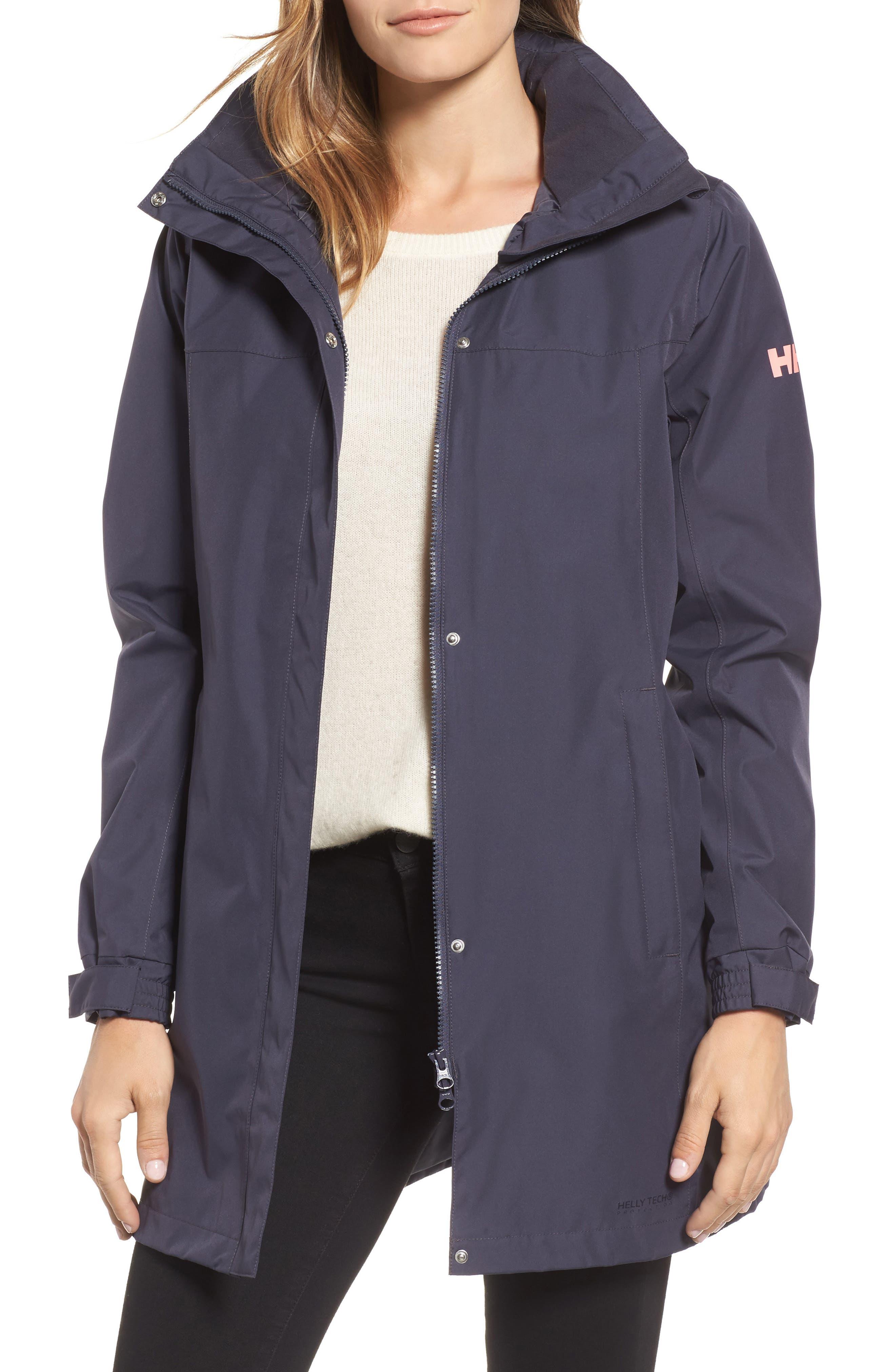 'Aden' Helly Tech<sup>®</sup> Raincoat,                         Main,                         color, Graphite Blue