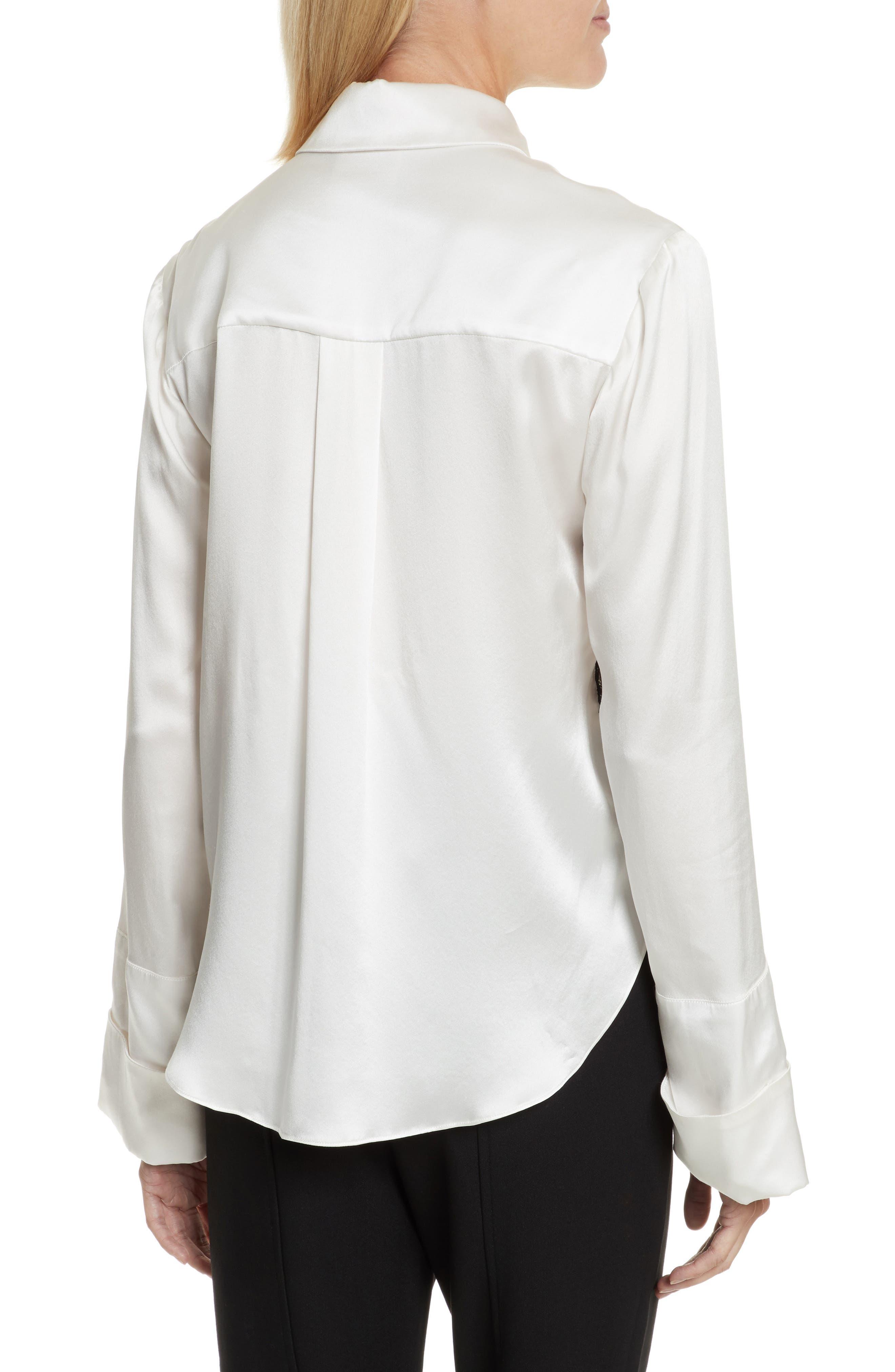 Korlan Lace Trim Silk Top,                             Alternate thumbnail 2, color,                             Ivory/ Black