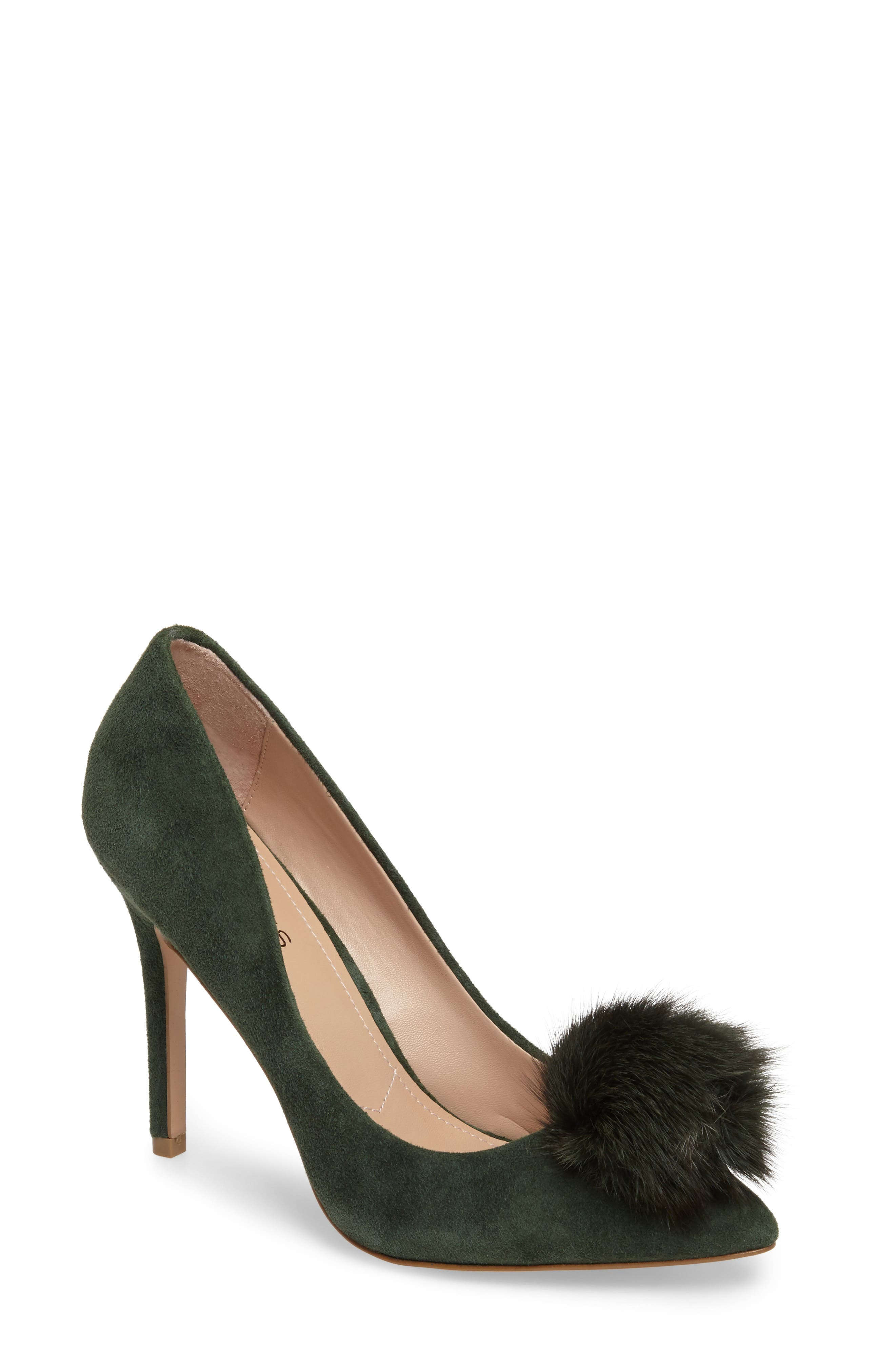 Charles by Charles David Pixie Pump with Genuine Fox Fur Pom