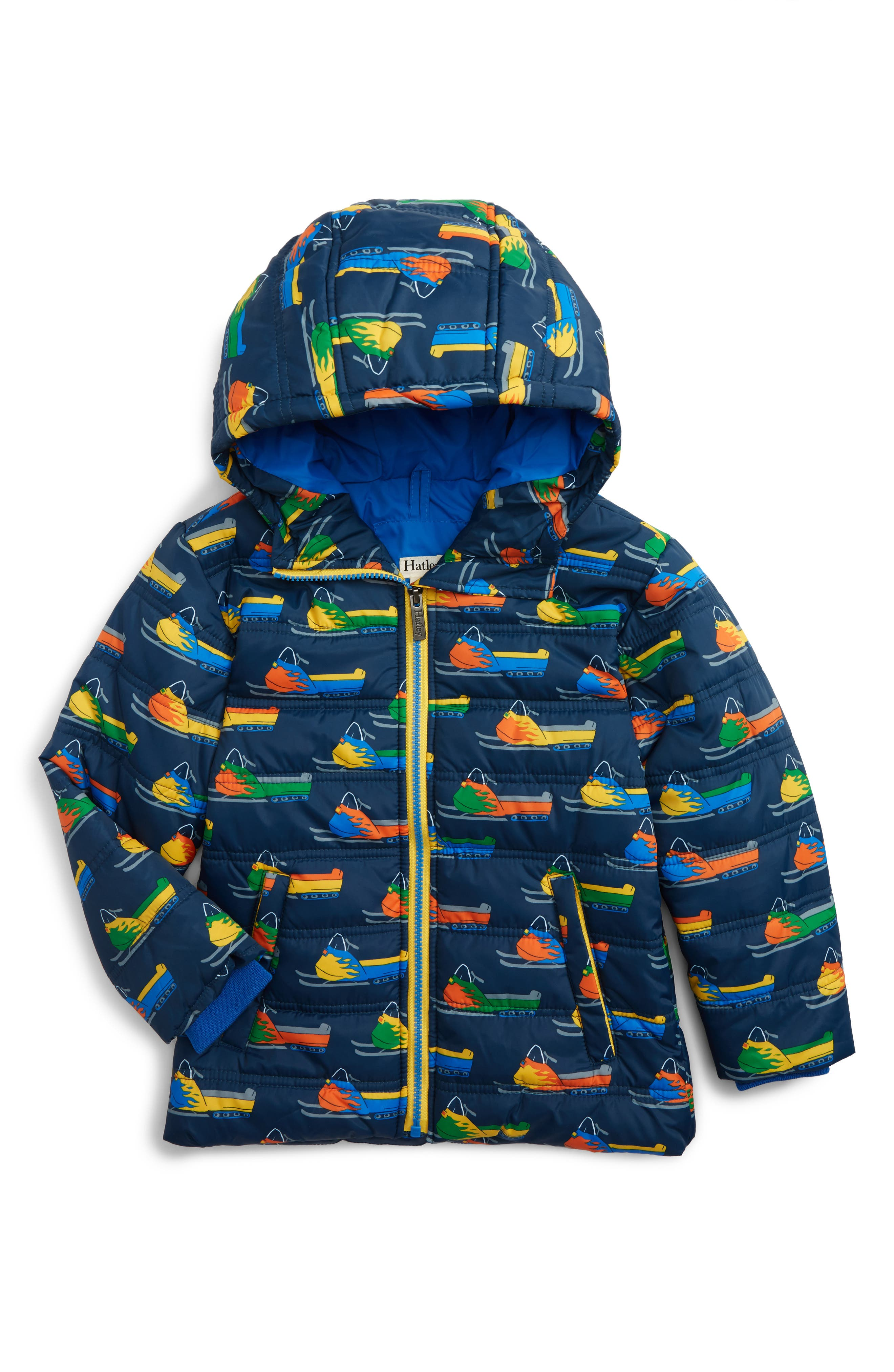 Bobsled Print Puffer Jacket,                         Main,                         color, Vintage Snowmobiles