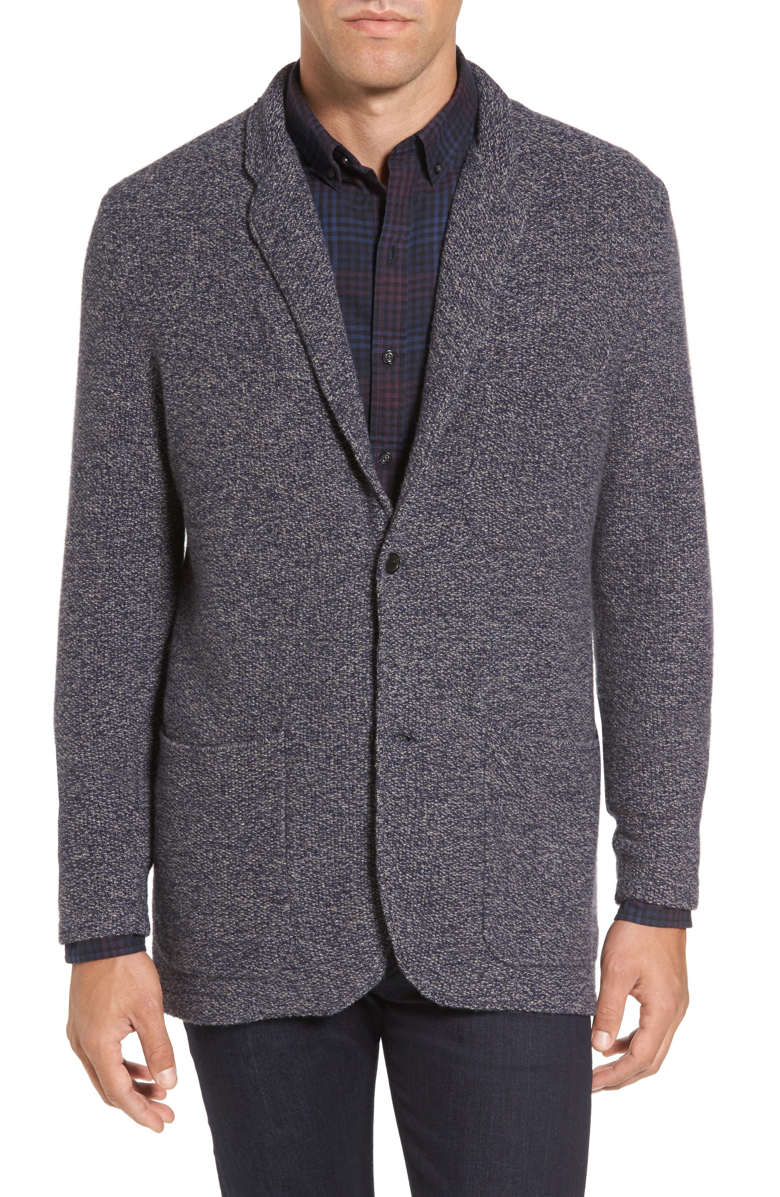 Deconstructed Merino & Yak Wool Sweater Jacket,                             Main thumbnail 1, color,                             Blue Ink