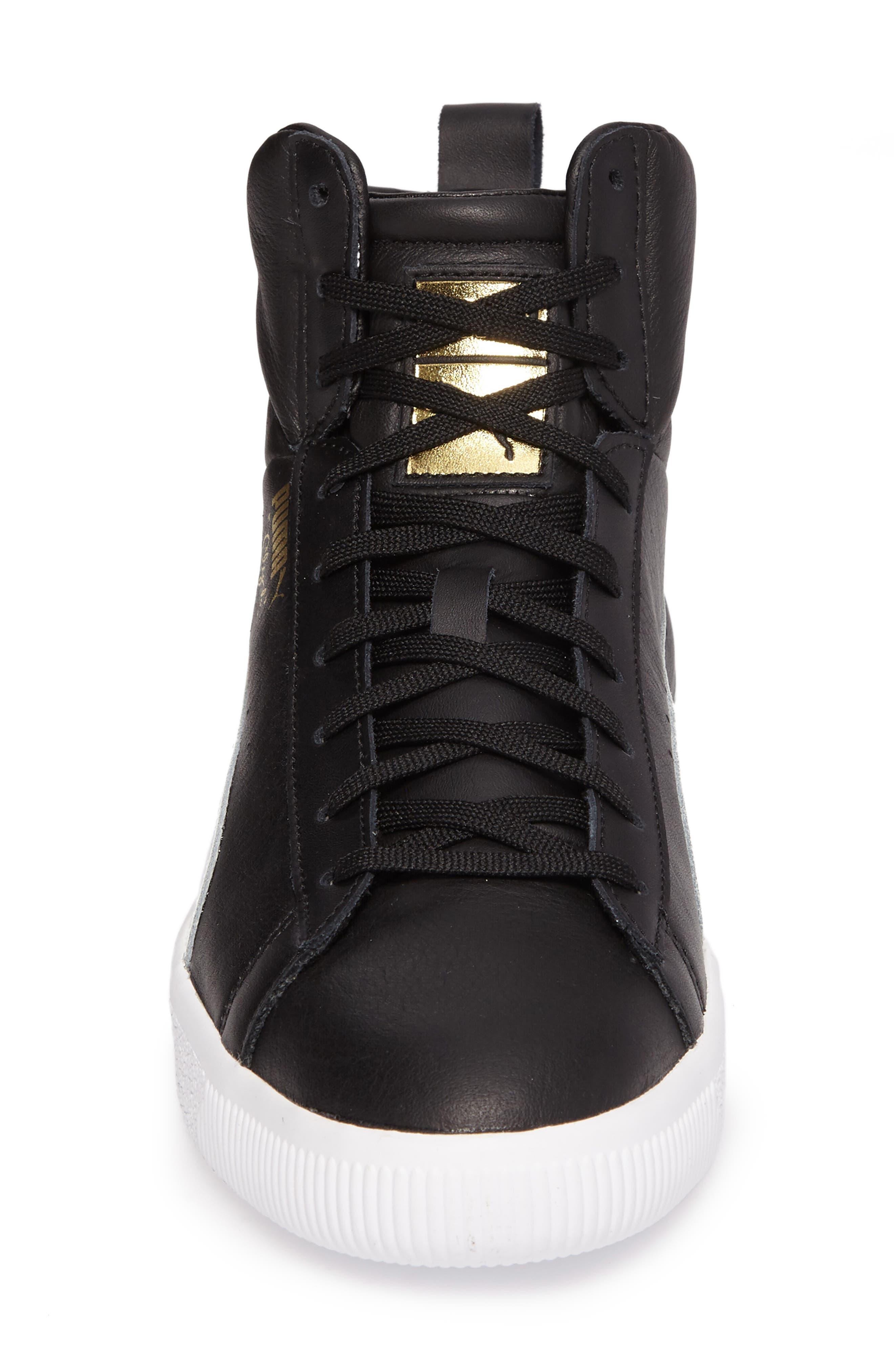 Clyde Mid Sneaker,                             Alternate thumbnail 4, color,                             Black/ White
