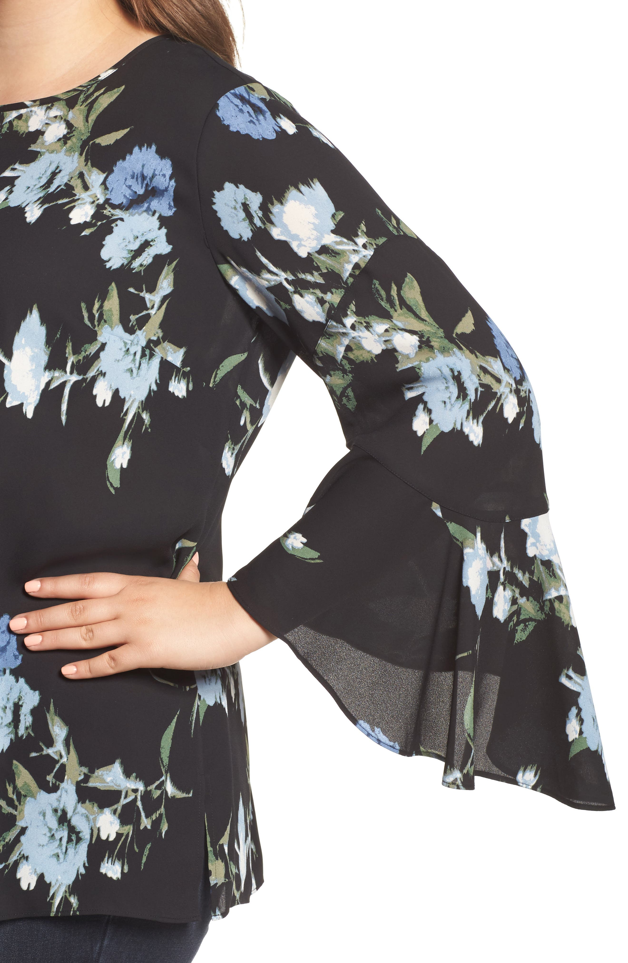 Windswept Bouquet Bell Sleeve Blouse,                             Alternate thumbnail 4, color,                             Cameo Blue