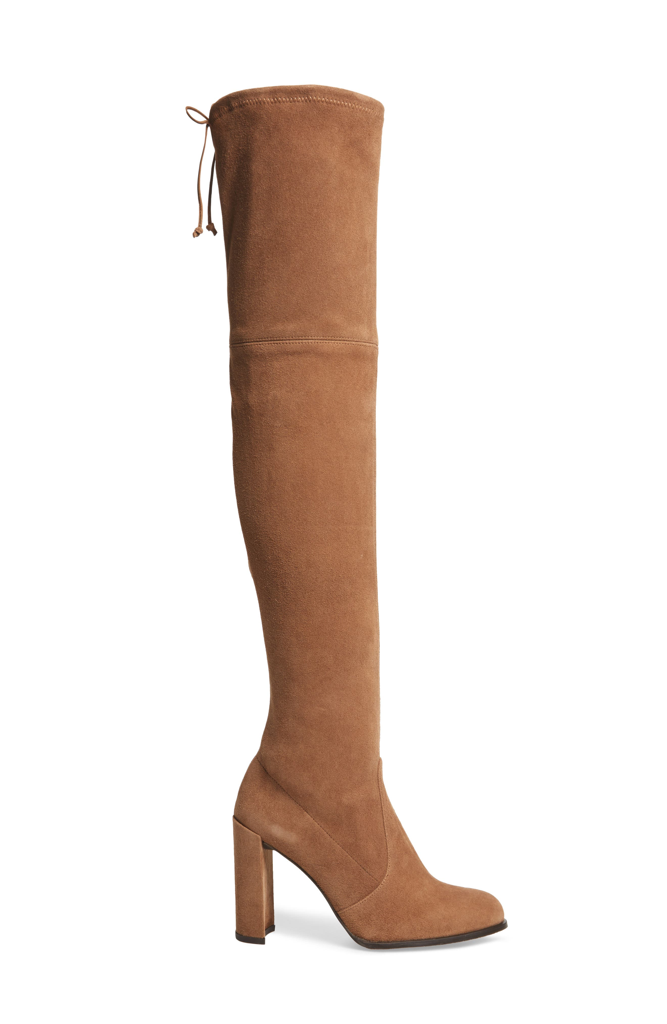 Hiline Over the Knee Boot,                             Alternate thumbnail 3, color,                             Nutmeg Suede
