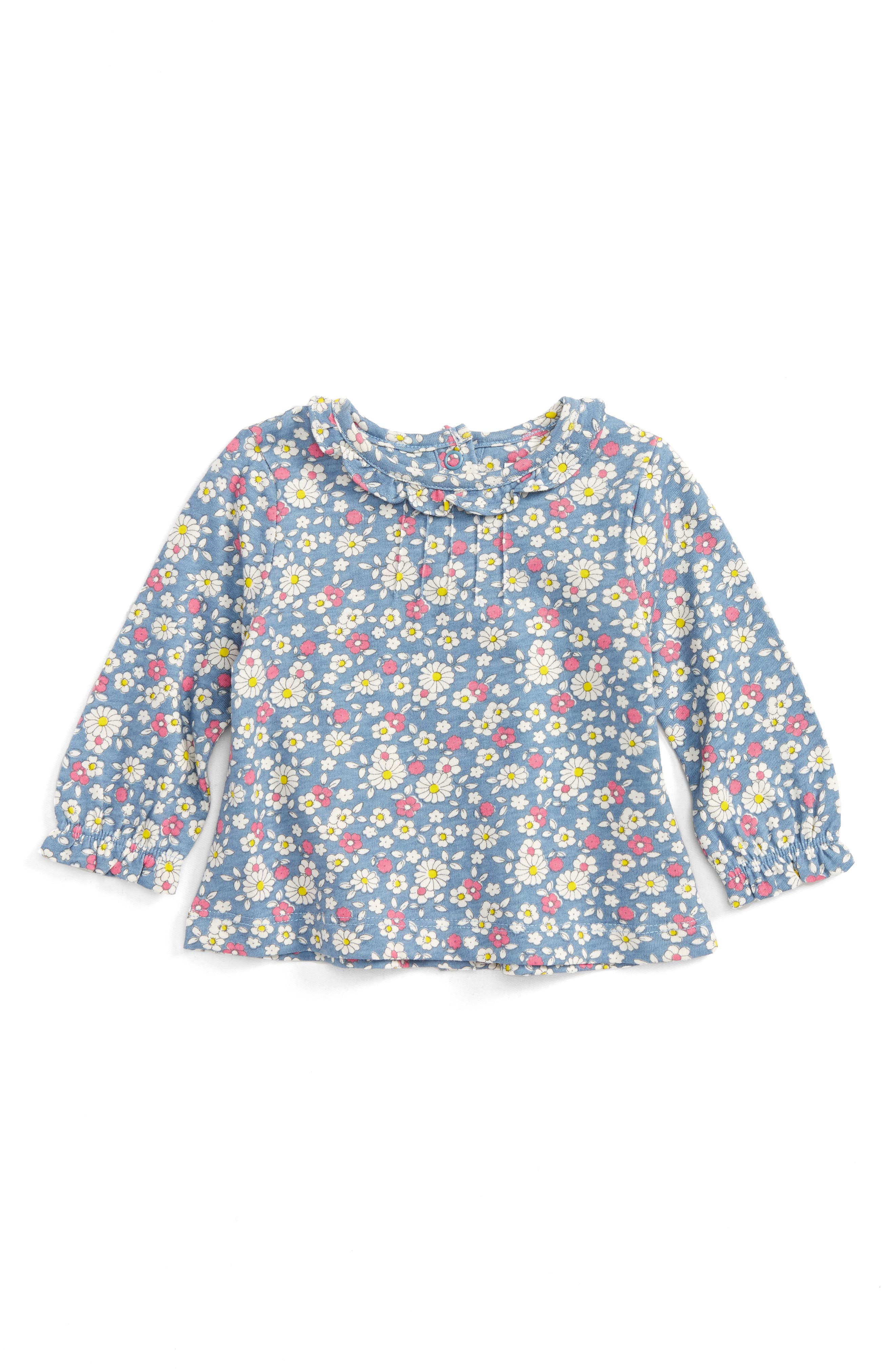 Alternate Image 1 Selected - Mini Boden Pretty Printed Shirt (Baby Girls & Toddler Girls)