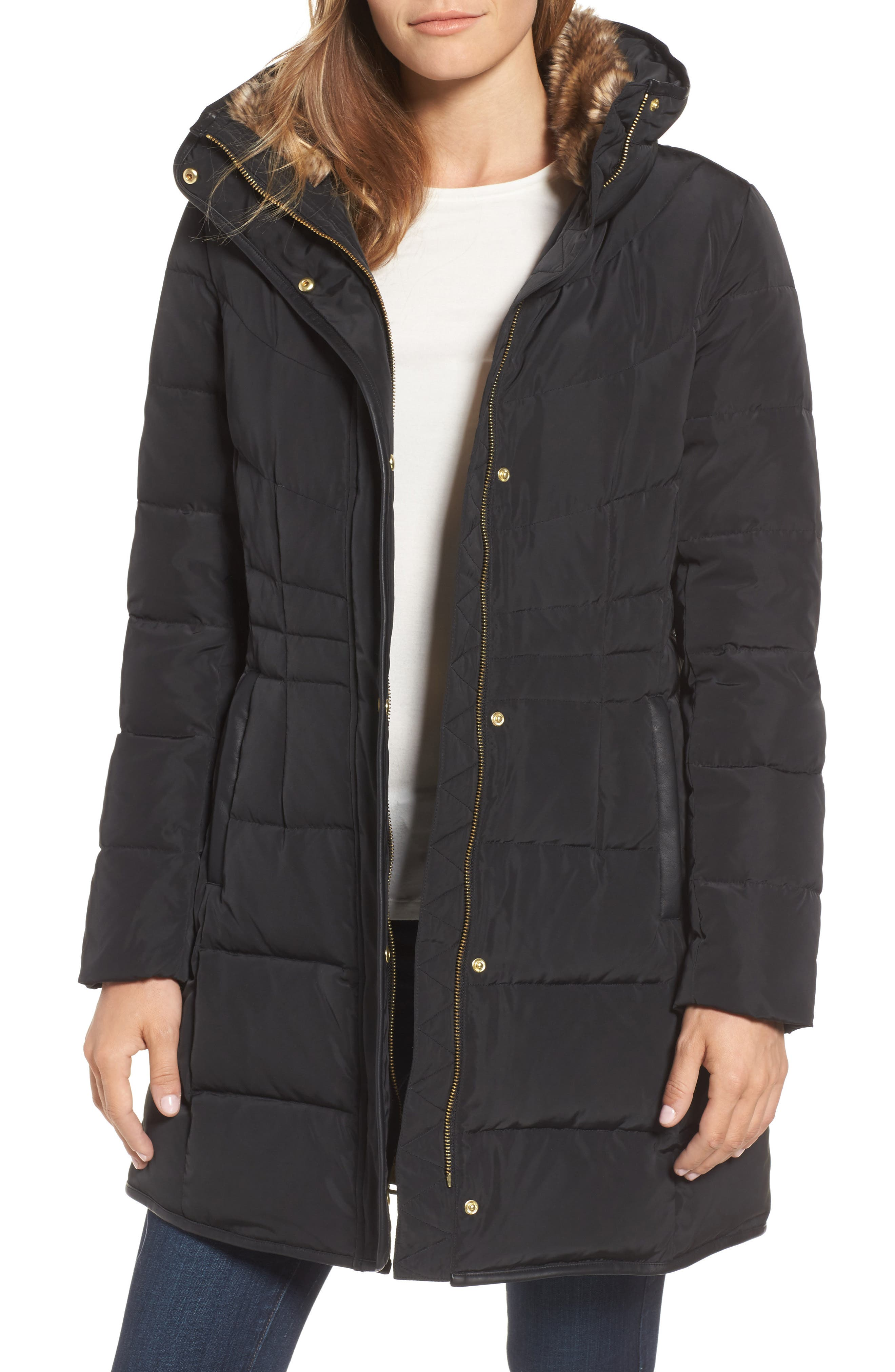 Alternate Image 1 Selected - Cole Haan Quilted Down & Feather Fill Jacket with Faux Fur Trim