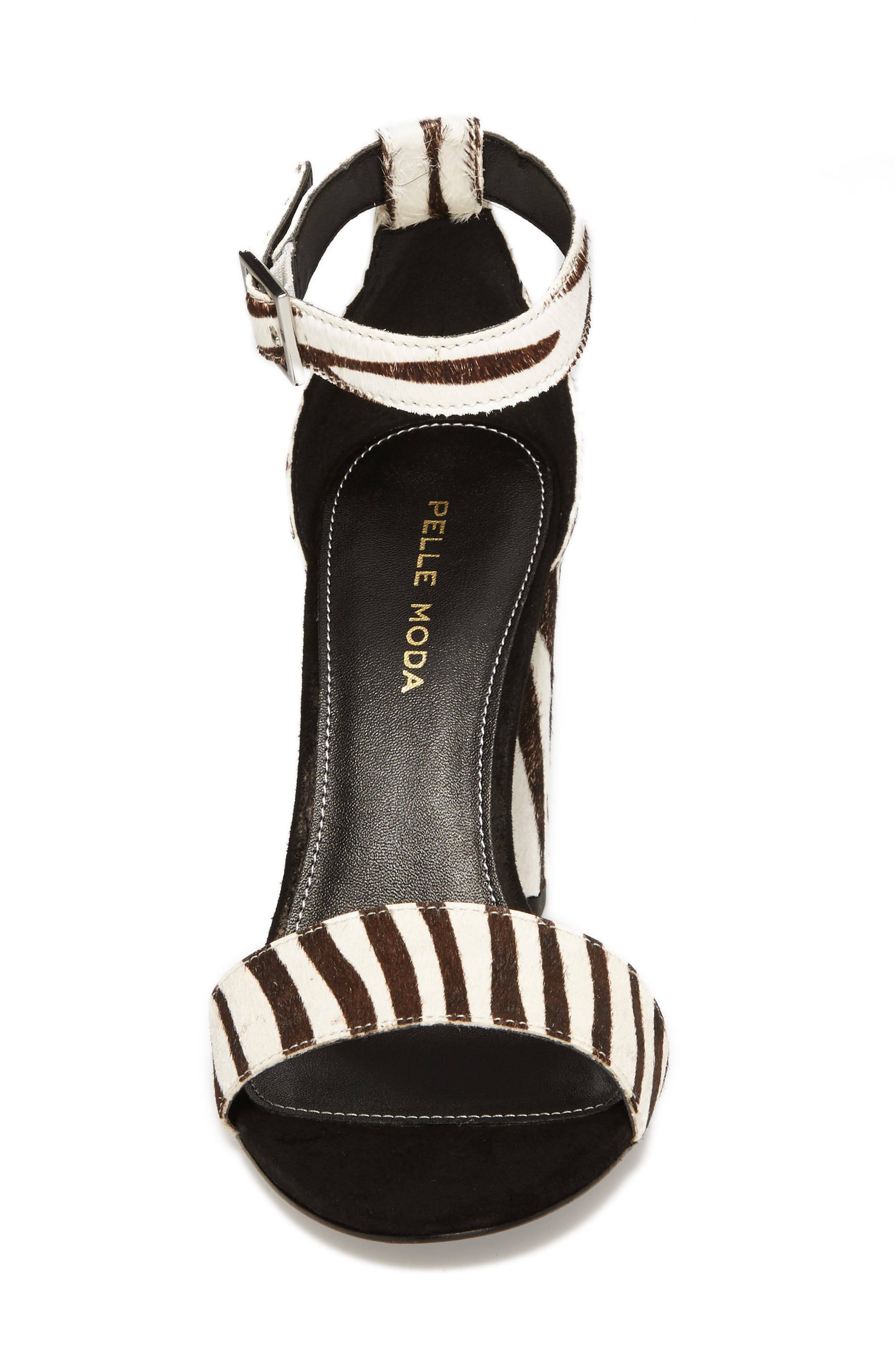 'Bonnie' Ankle Strap Sandal,                             Alternate thumbnail 4, color,                             Zebra Print Calf Hair