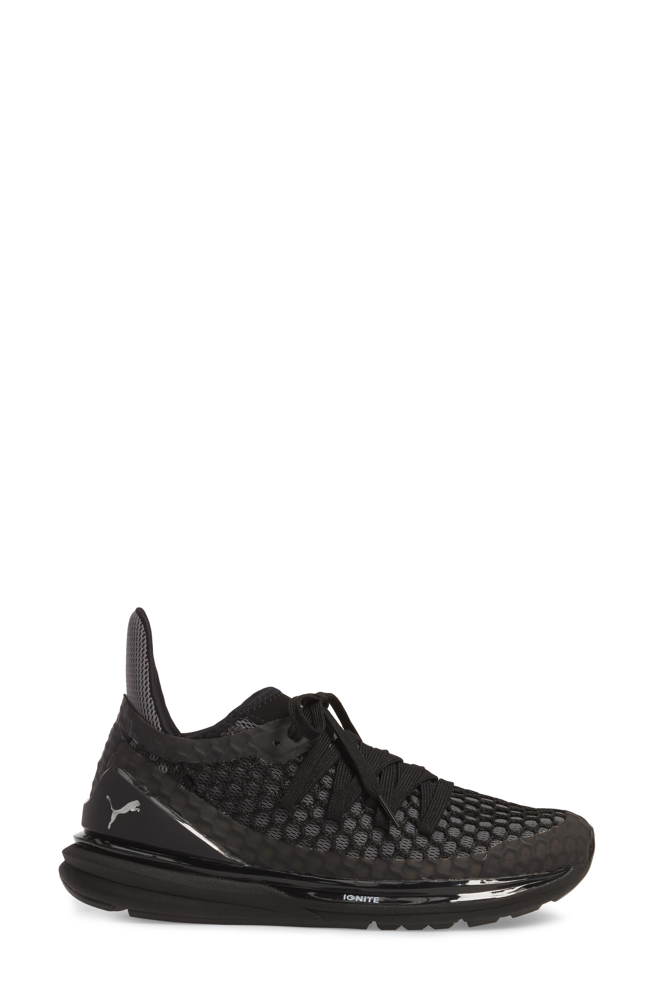 Ignite Limitless Netfit Running Shoe,                             Alternate thumbnail 3, color,                             Black/ Silver