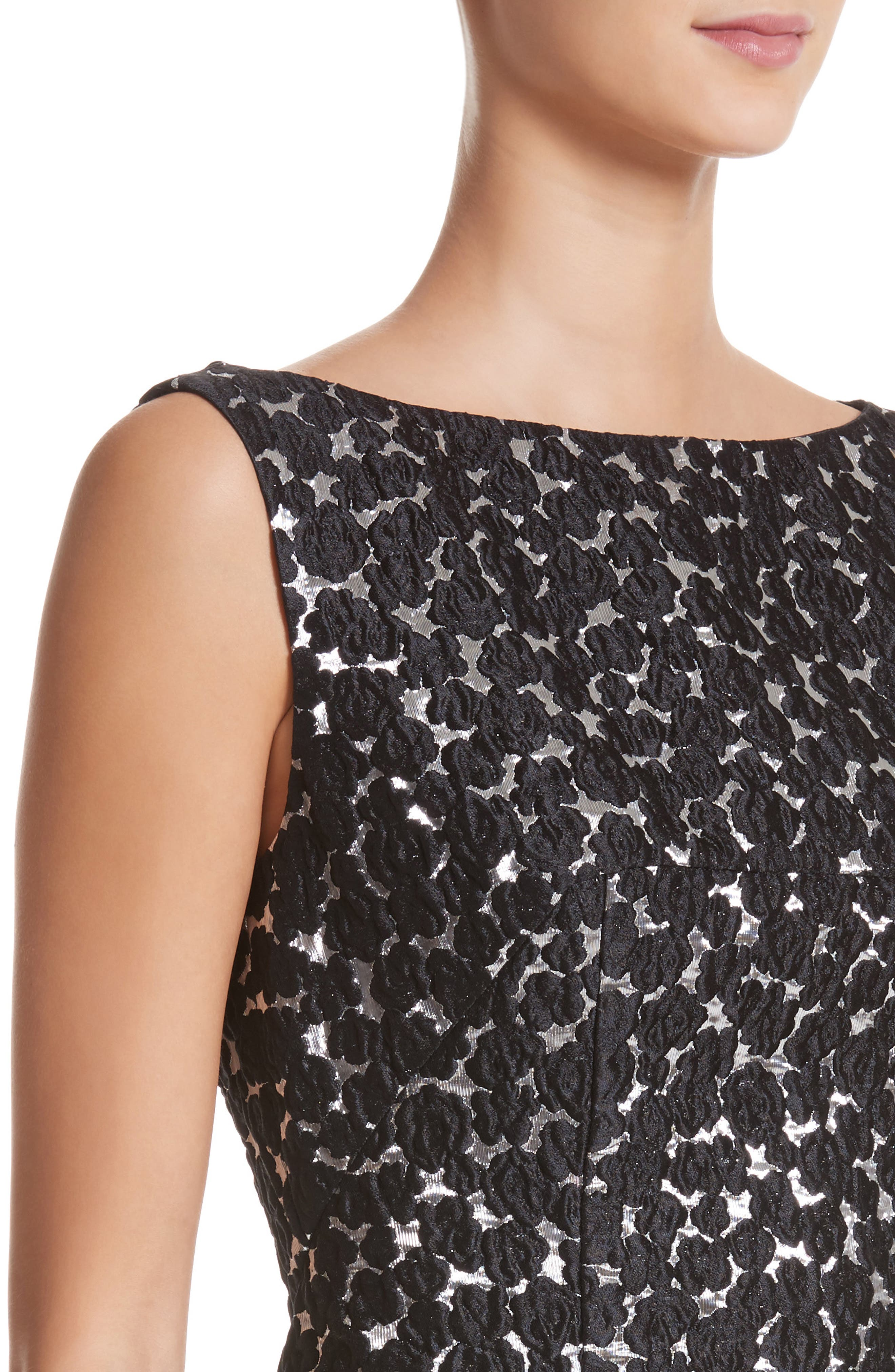 Floral Matelassé A-Line Dress,                             Alternate thumbnail 4, color,                             Black / Silver