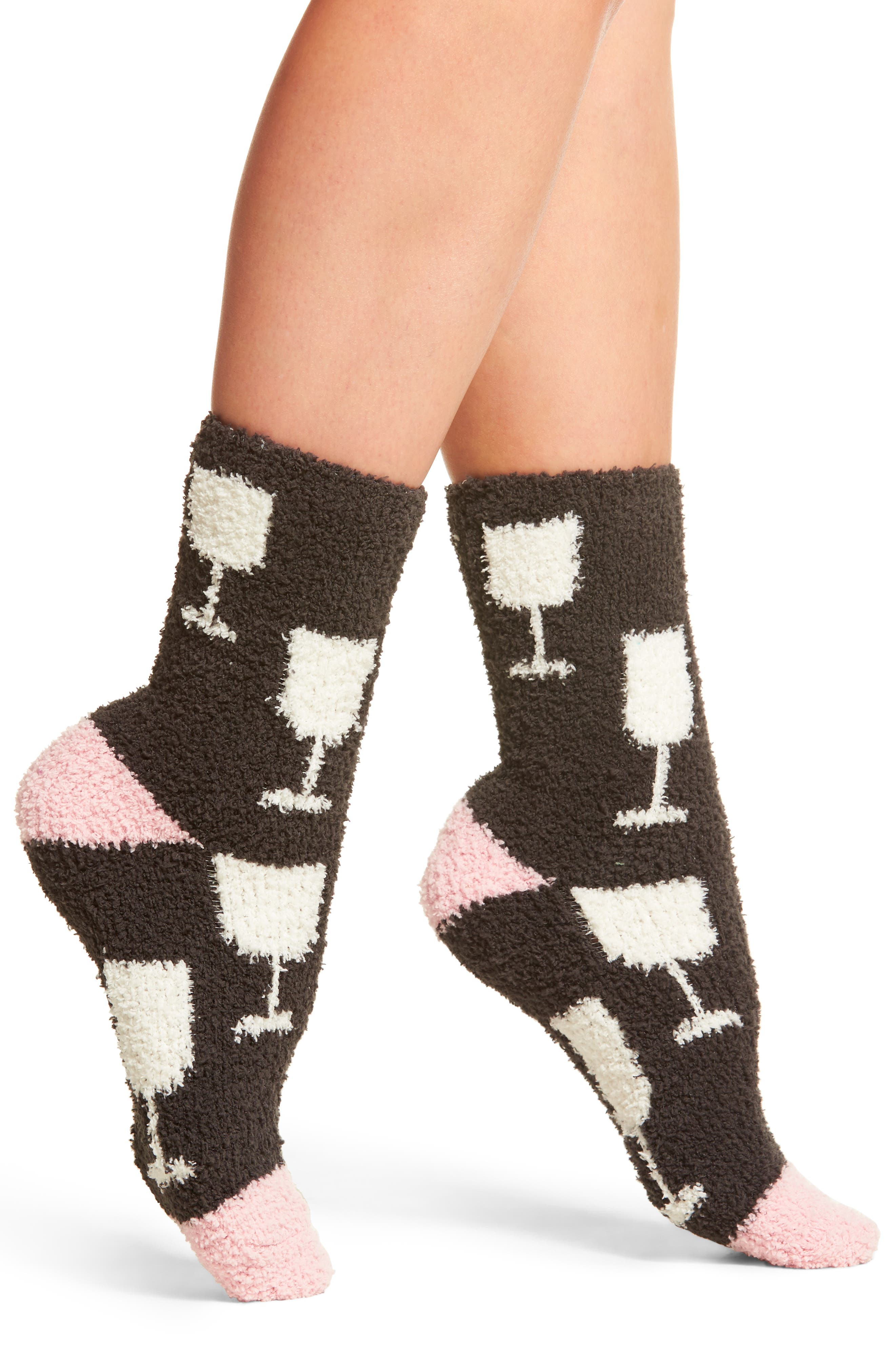 Wine Glasses Plush Socks,                         Main,                         color, Charcoal