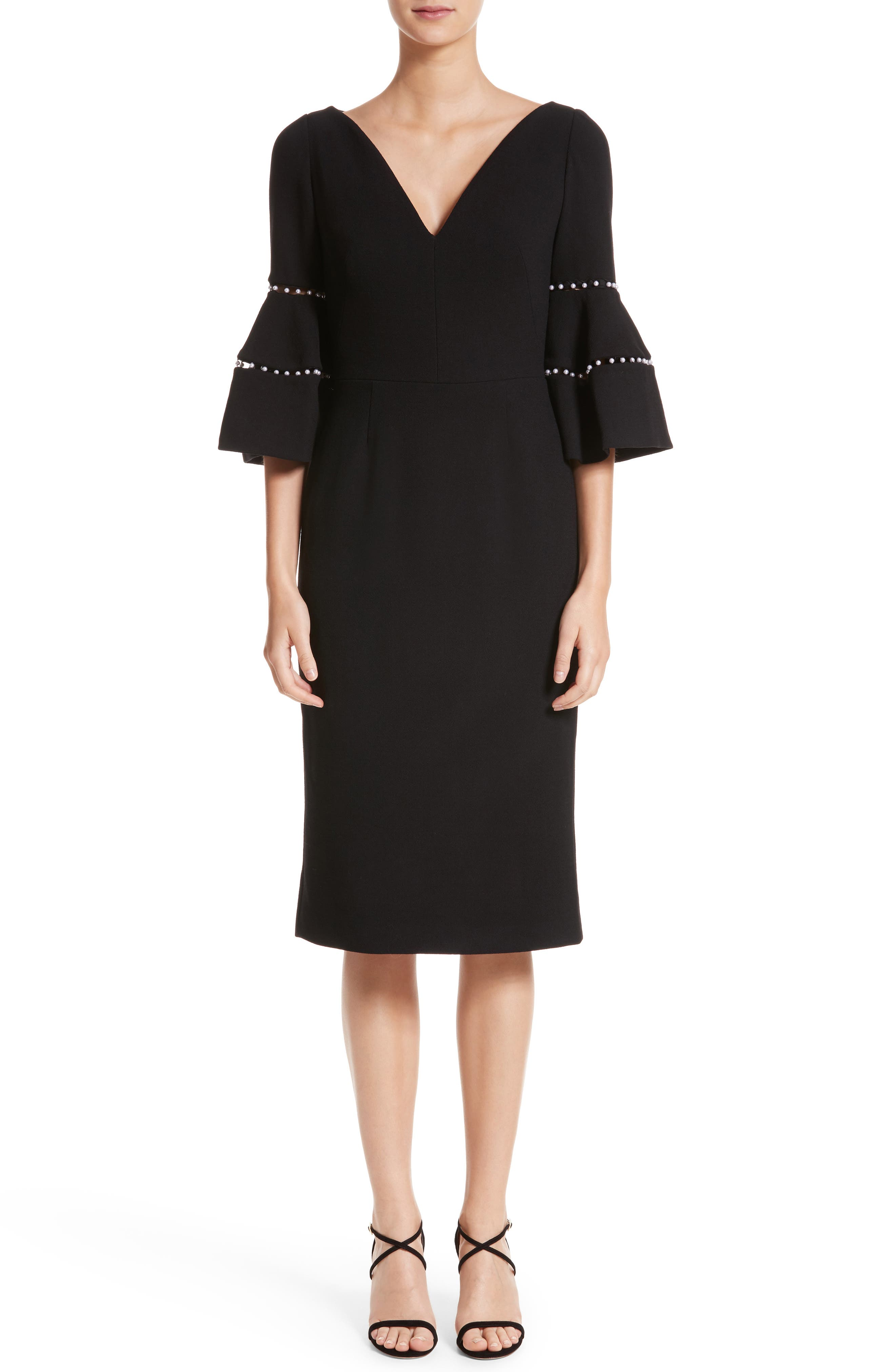 Pearly Trim Bell Sleeve Dress,                         Main,                         color, Black