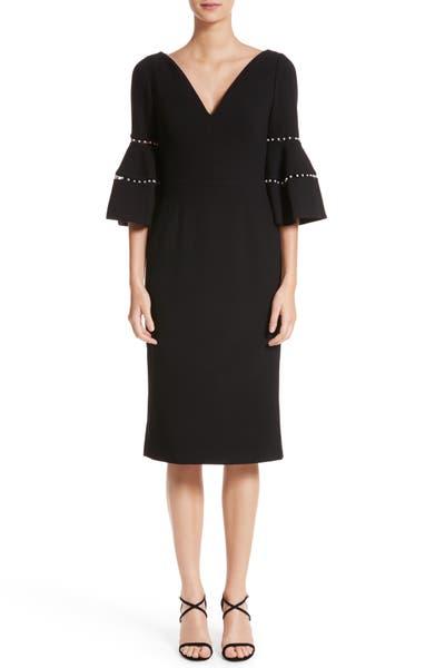 Main Image - Lela Rose Pearly Trim Bell Sleeve Dress