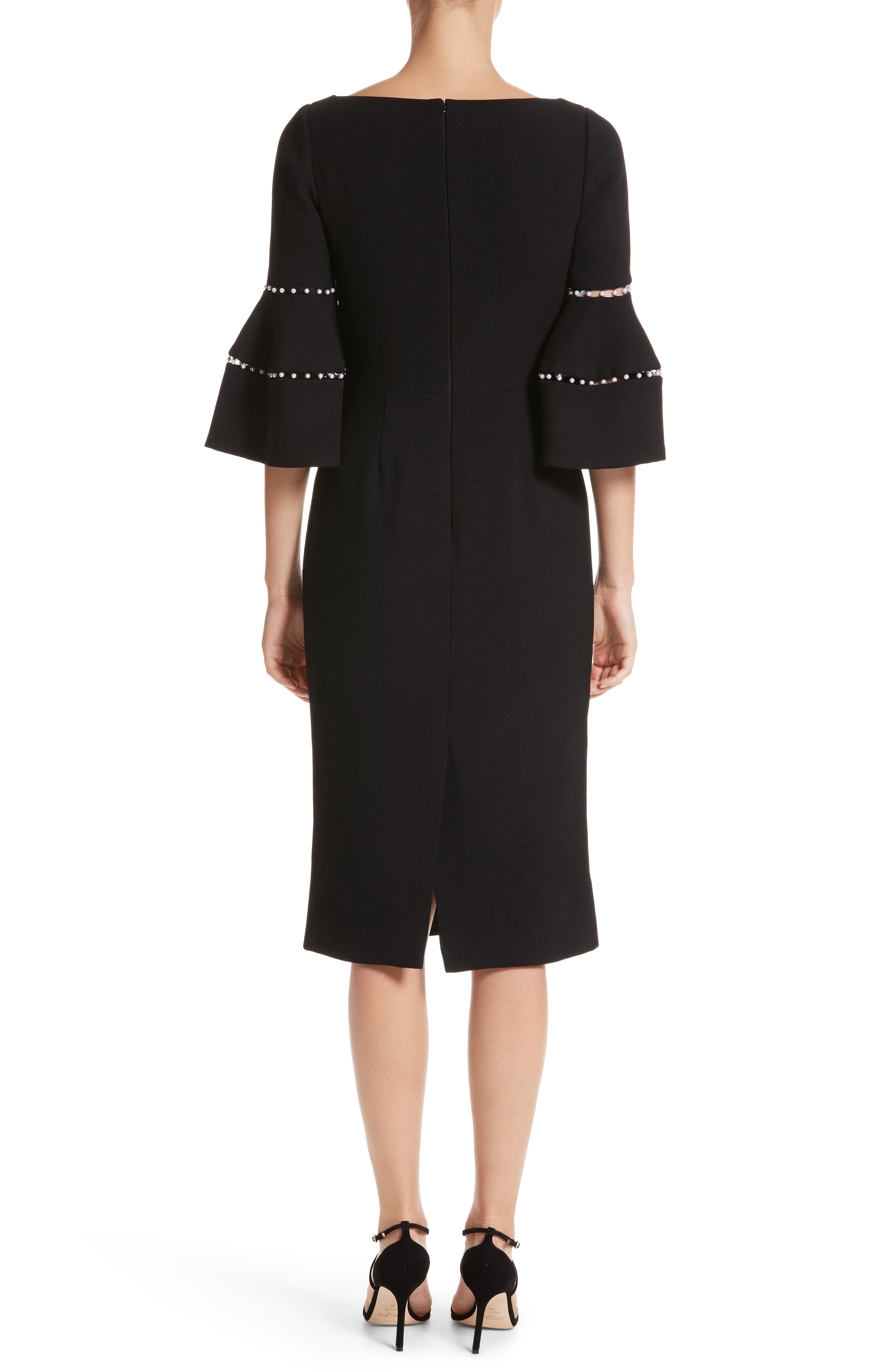 Pearly Trim Bell Sleeve Dress,                             Alternate thumbnail 2, color,                             Black