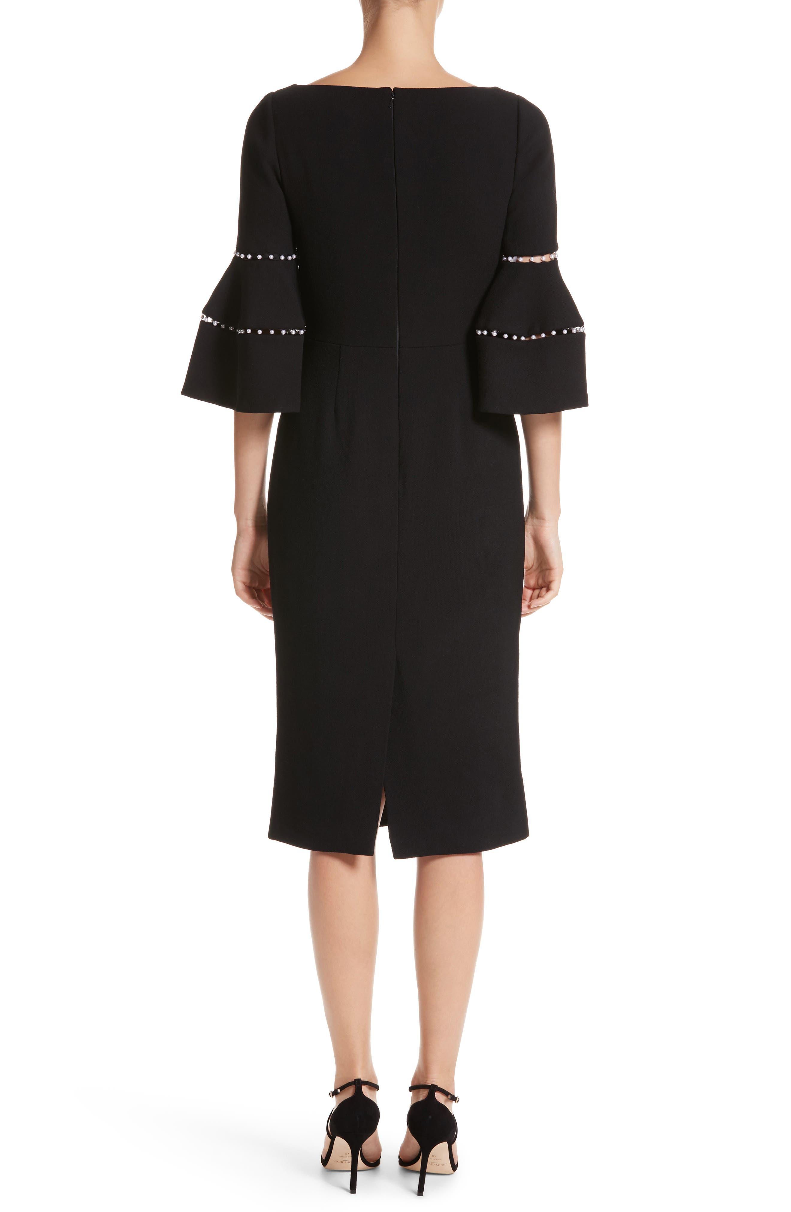 Alternate Image 2  - Lela Rose Pearly Trim Bell Sleeve Dress