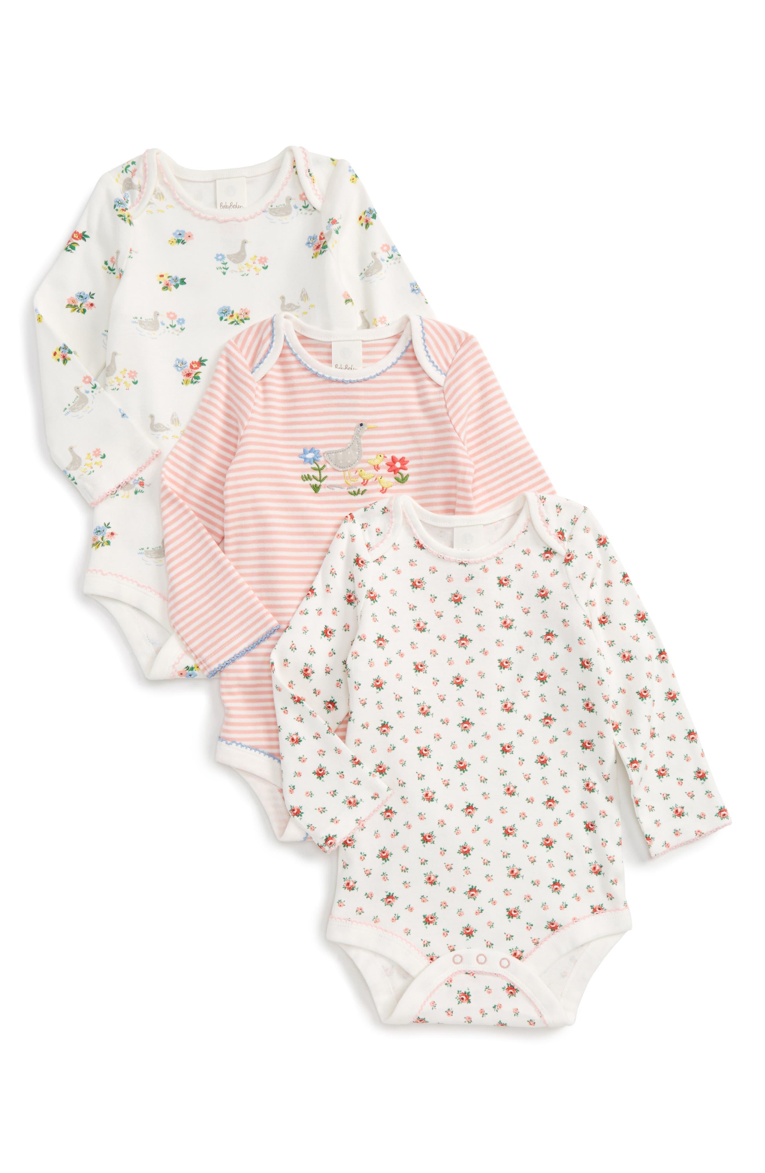 Main Image - Mini Boden Riverside Ducks 3-Pack Bodysuits (Baby Girls)