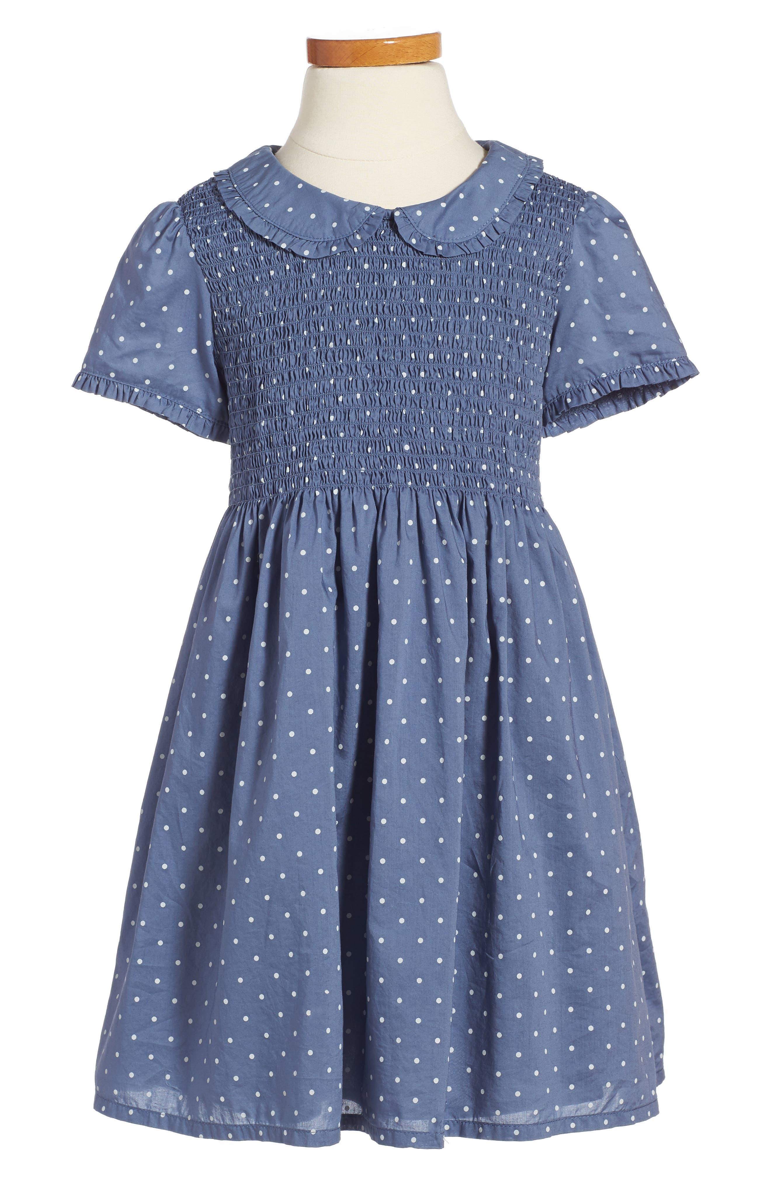Pretty Smock Dress,                         Main,                         color, English China Blue Pin Spot