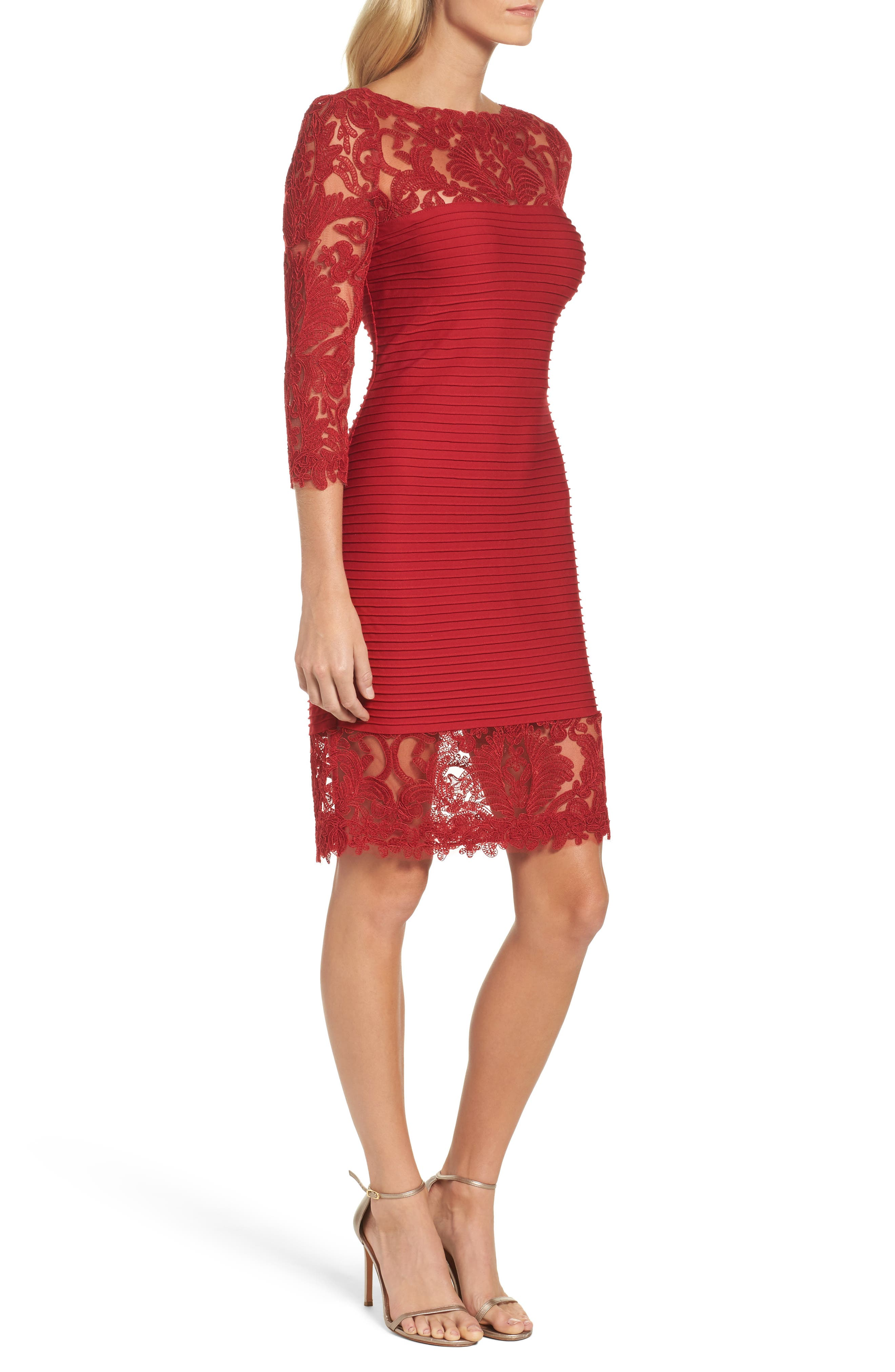 Illusion Pintuck Sheath Dress,                             Alternate thumbnail 3, color,                             Deep Red