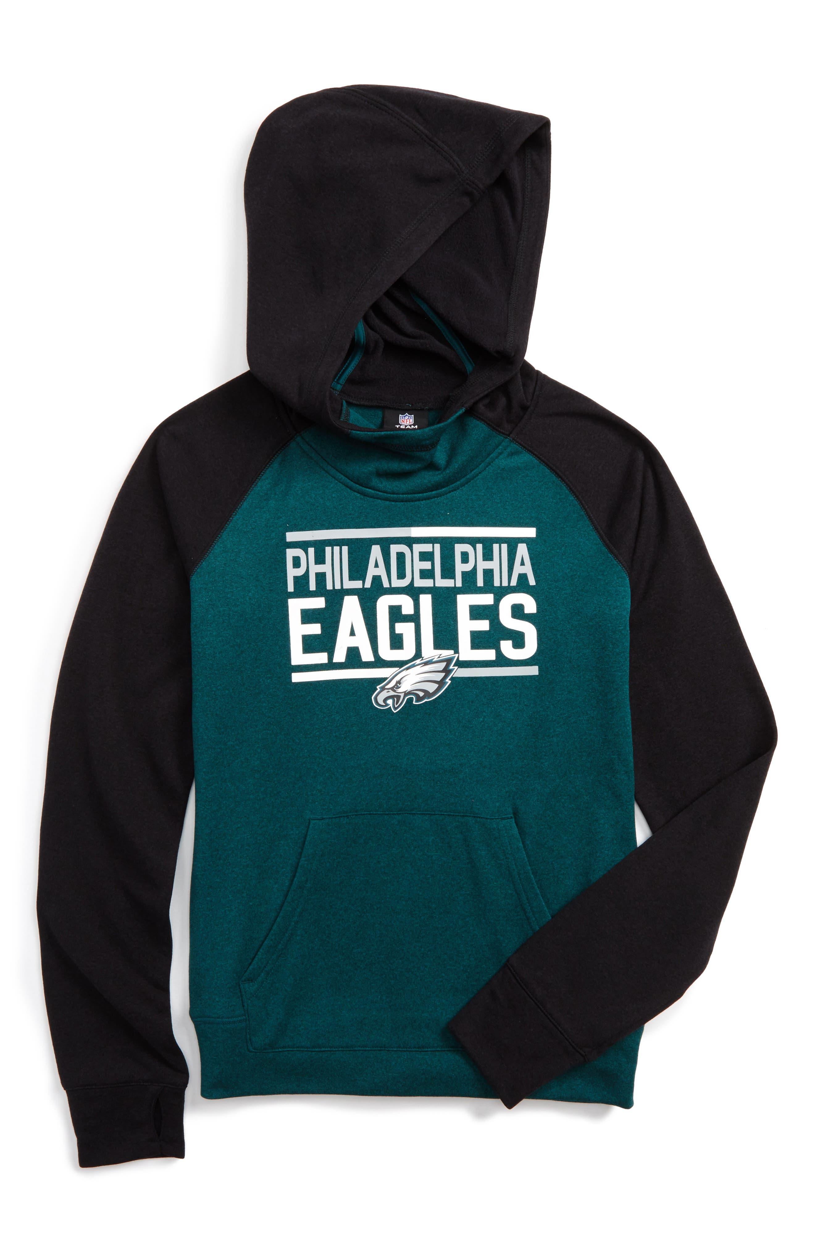 NFL Philadelphia Eagles Hoodie,                             Main thumbnail 1, color,                             Green